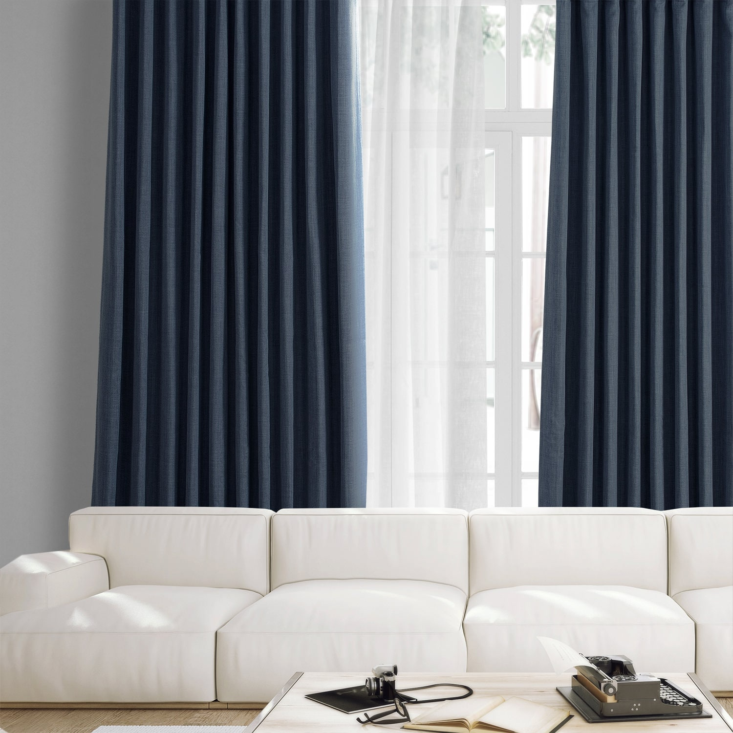 Story Blue Faux Linen Extra Wide Room Darkening Curtain