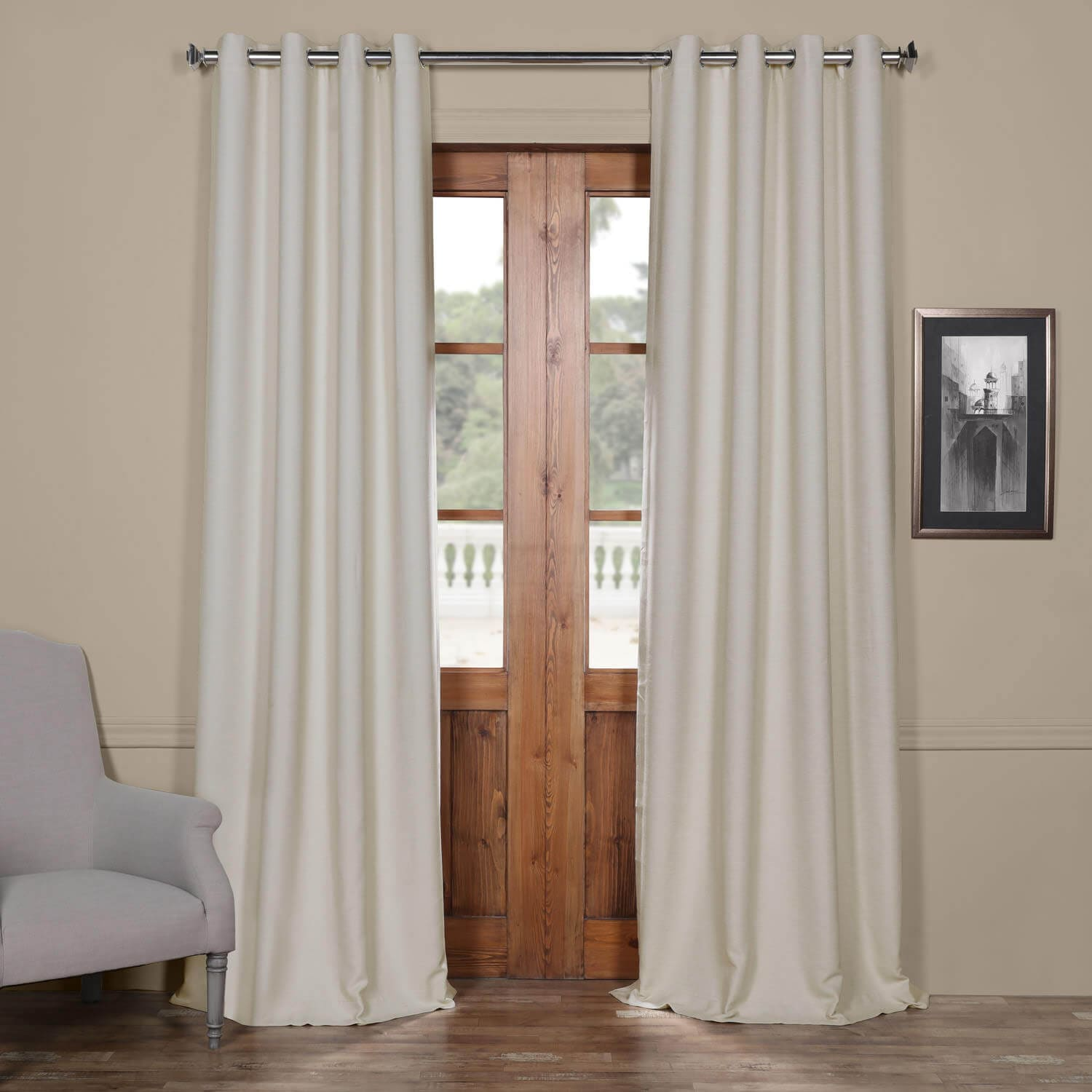 Cottage White Bellino Grommet Blackout Room Darkening Curtain