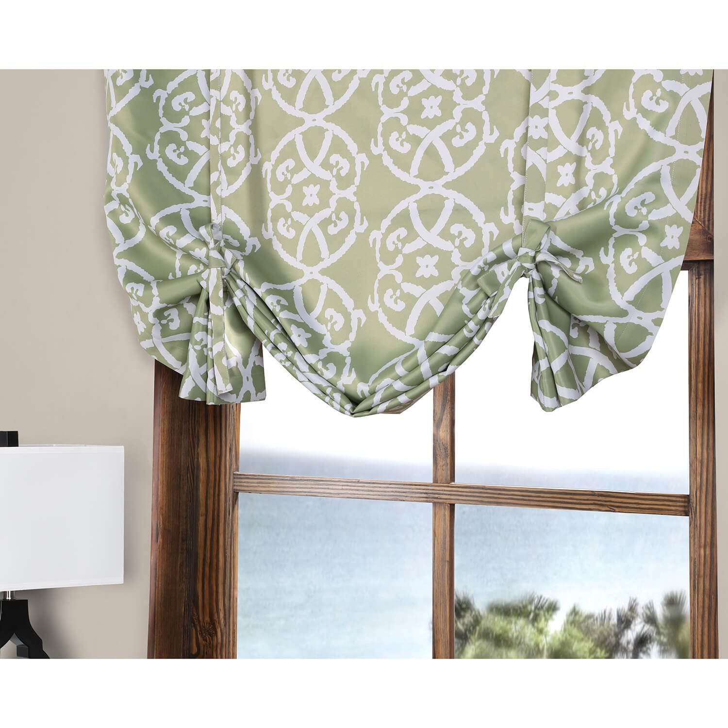 Secret Garden Leaf Green Blackout Tie-Up Window Shade