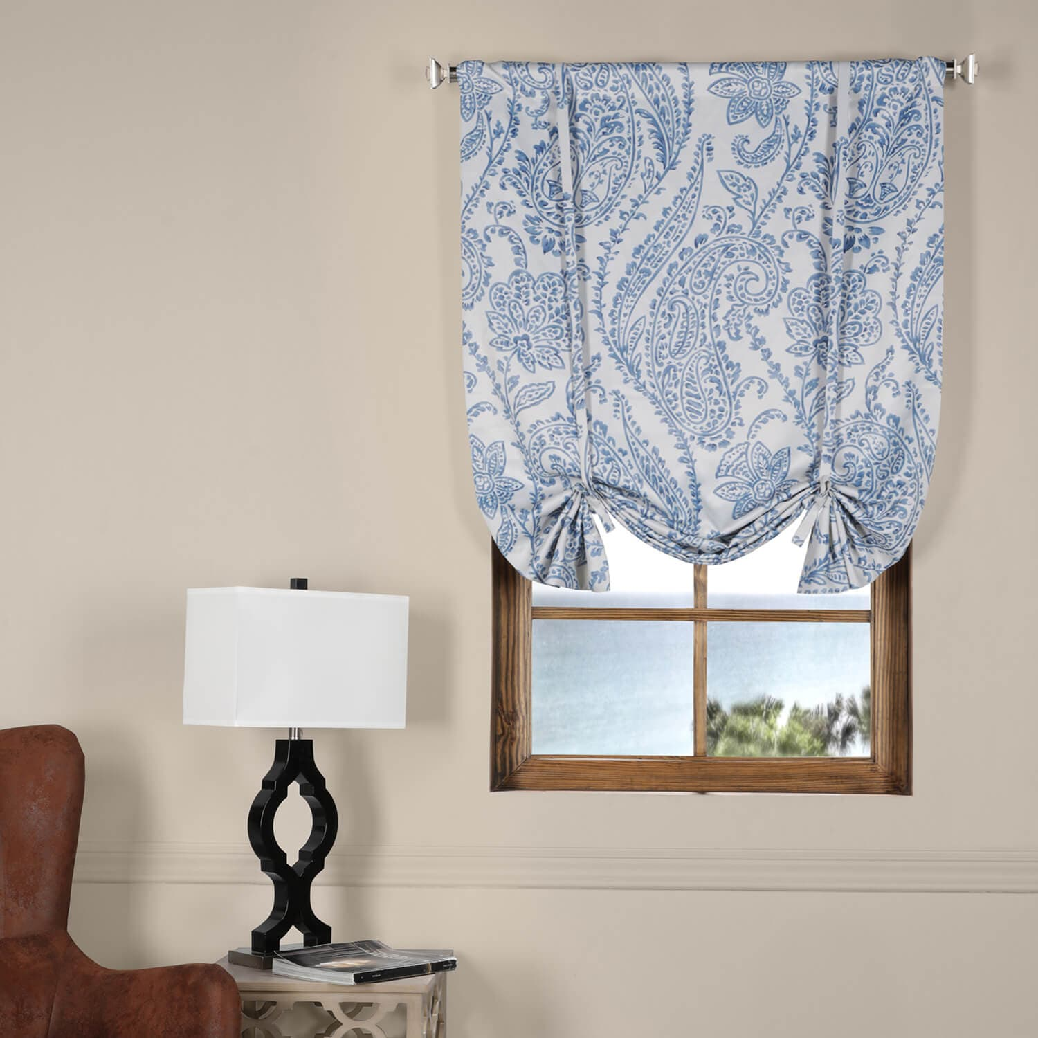 Tea Time China Blue Blackout Tie-Up Window Shade