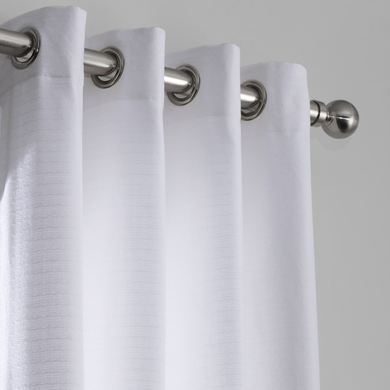 Ultra White Cotton Textured BarkWeave Grommet Curtain