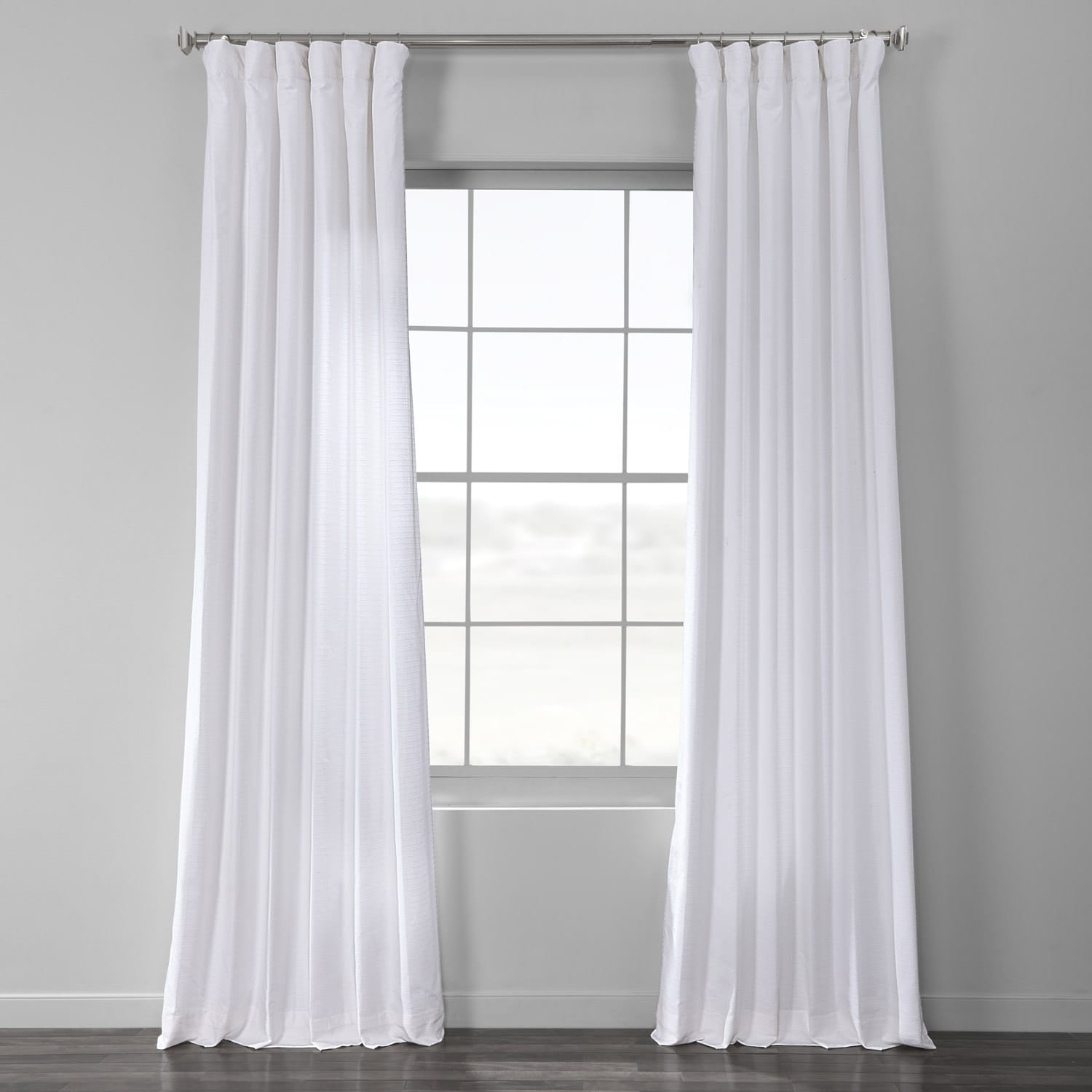 Ultra White Cotton Textured BarkWeave Curtain