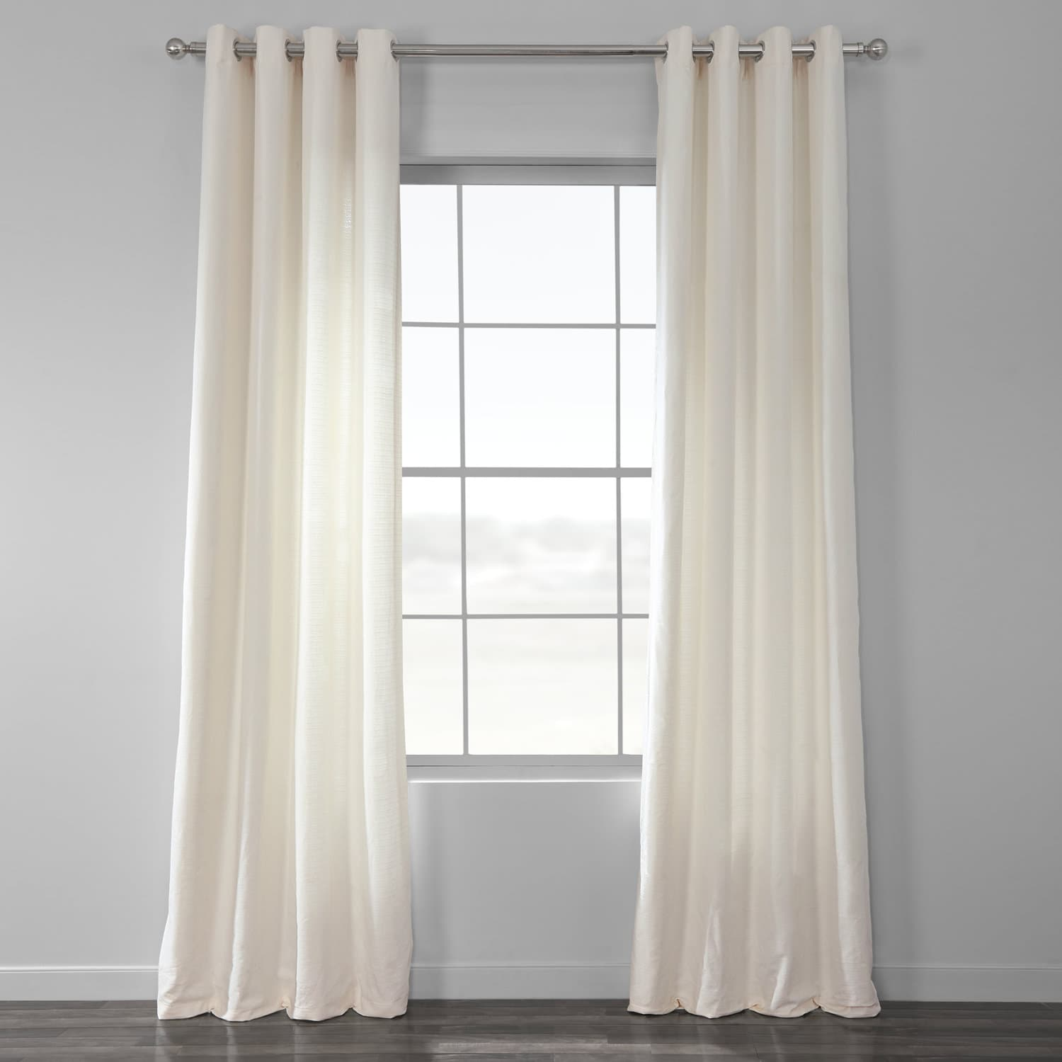 Off White Cotton Textured BarkWeave Grommet Curtain