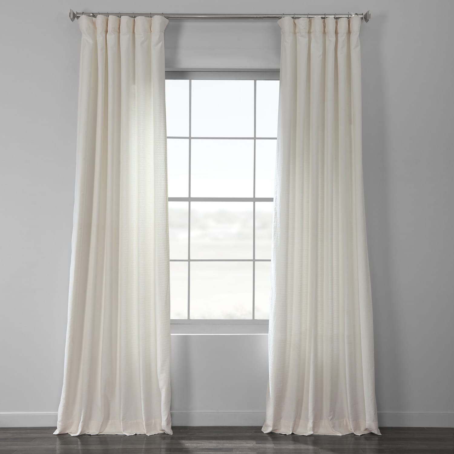 Off White Cotton Textured BarkWeave Curtain