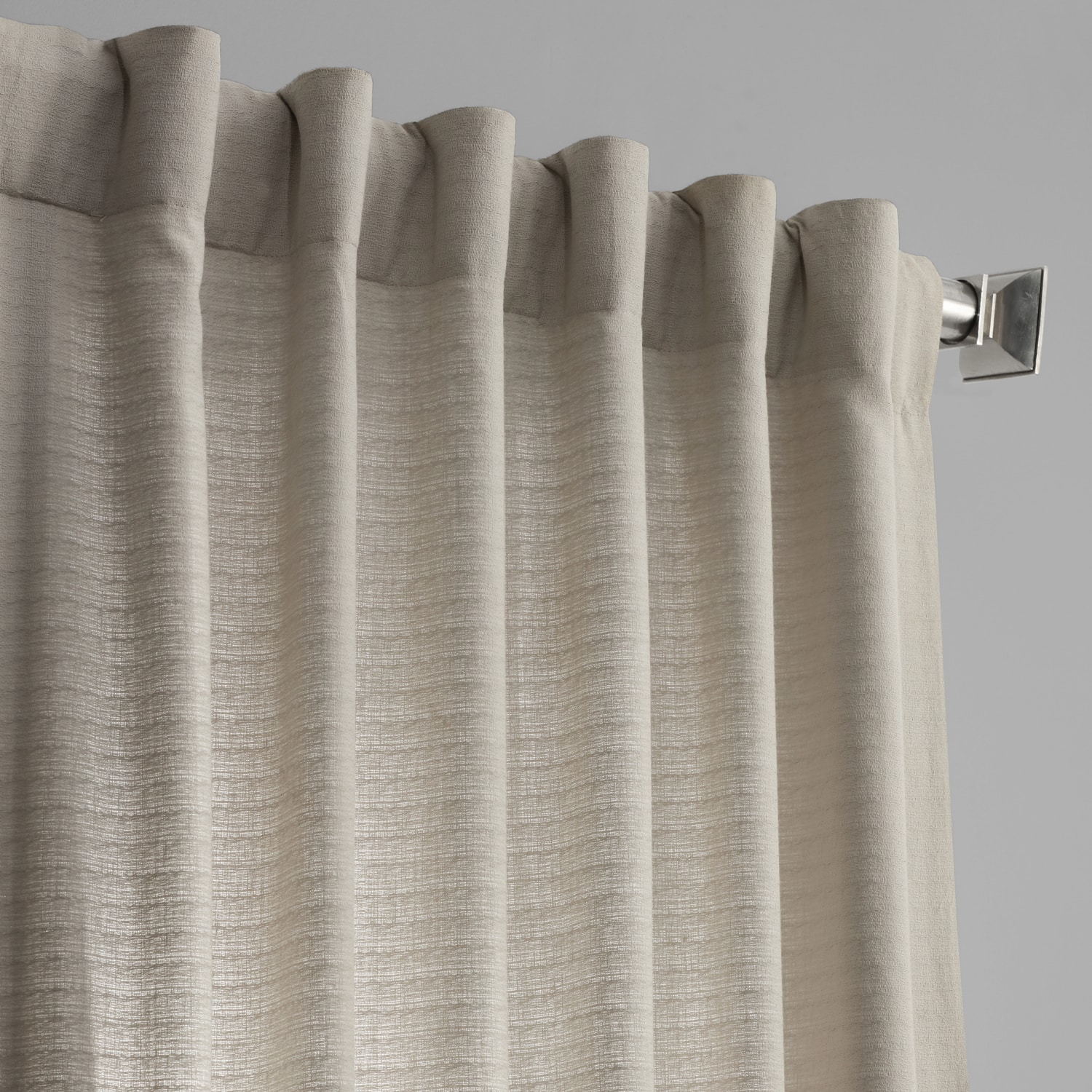 Fog Grey Cotton Textured BarkWeave Curtain