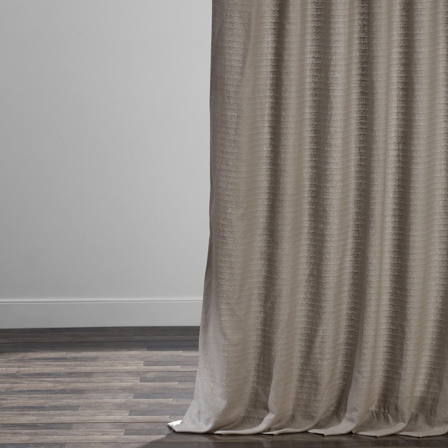 Taupe Grey Cotton Textured BarkWeave Curtain