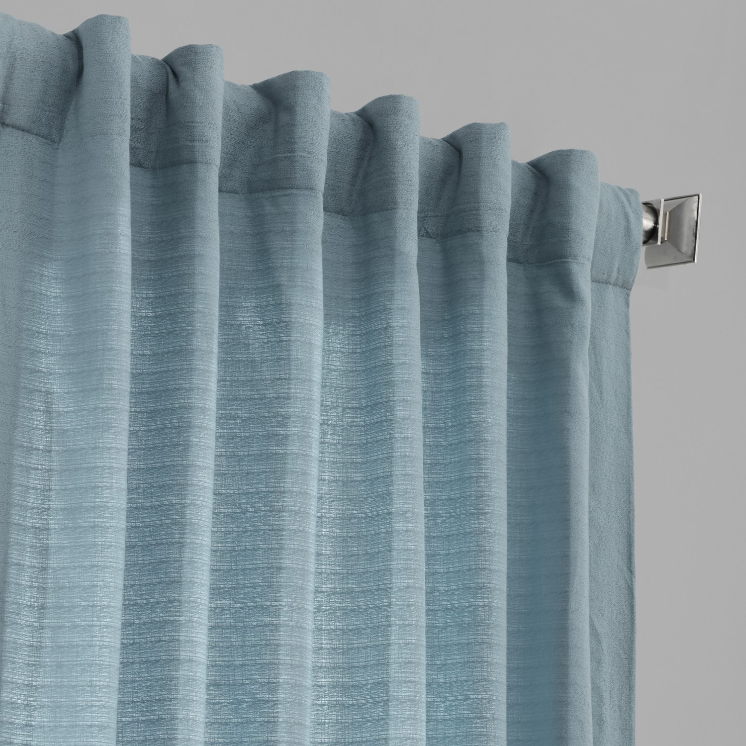 Dusky Blue Bark Weave Solid Cotton Curtain