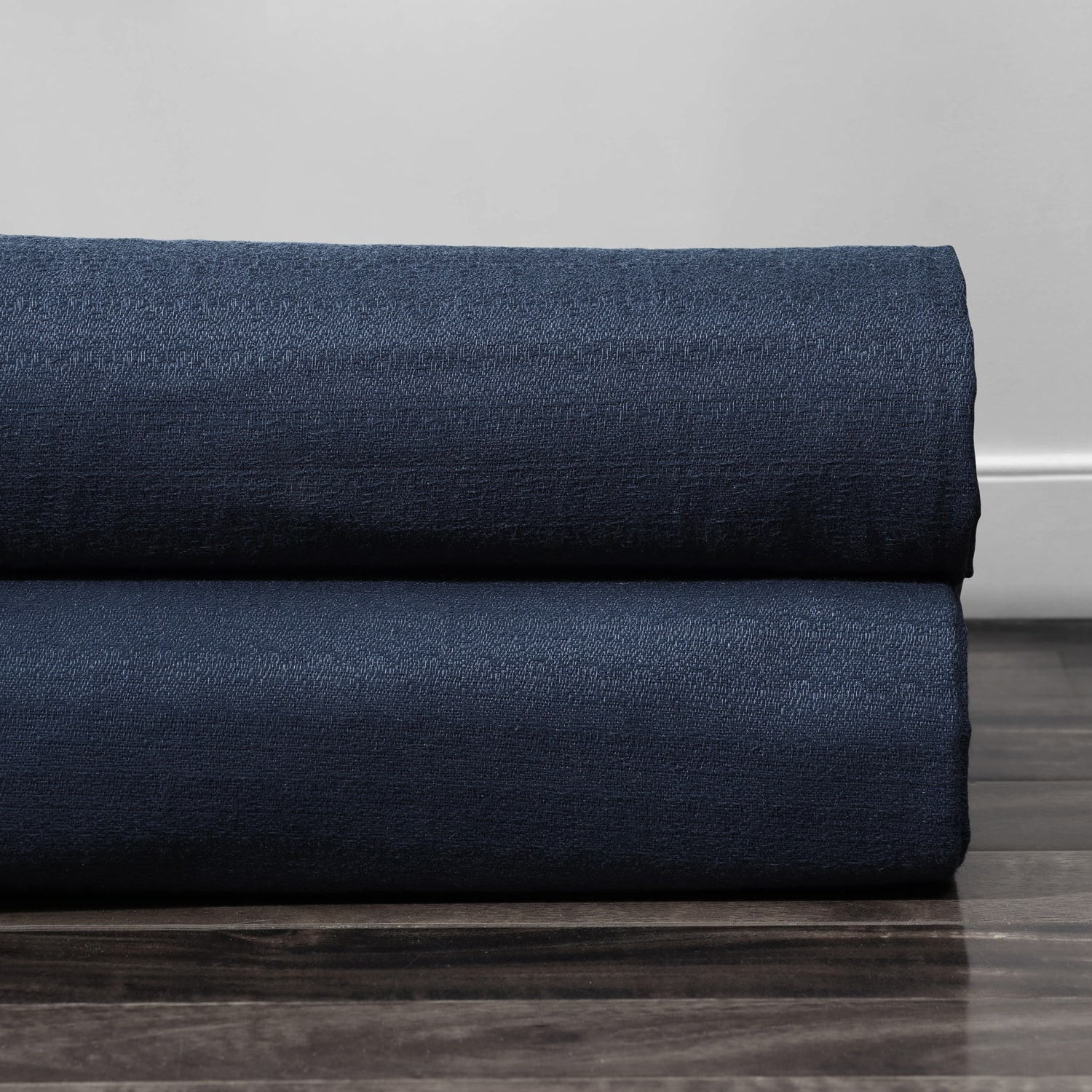 Elegant Navy Cotton Textured BarkWeave Fabric