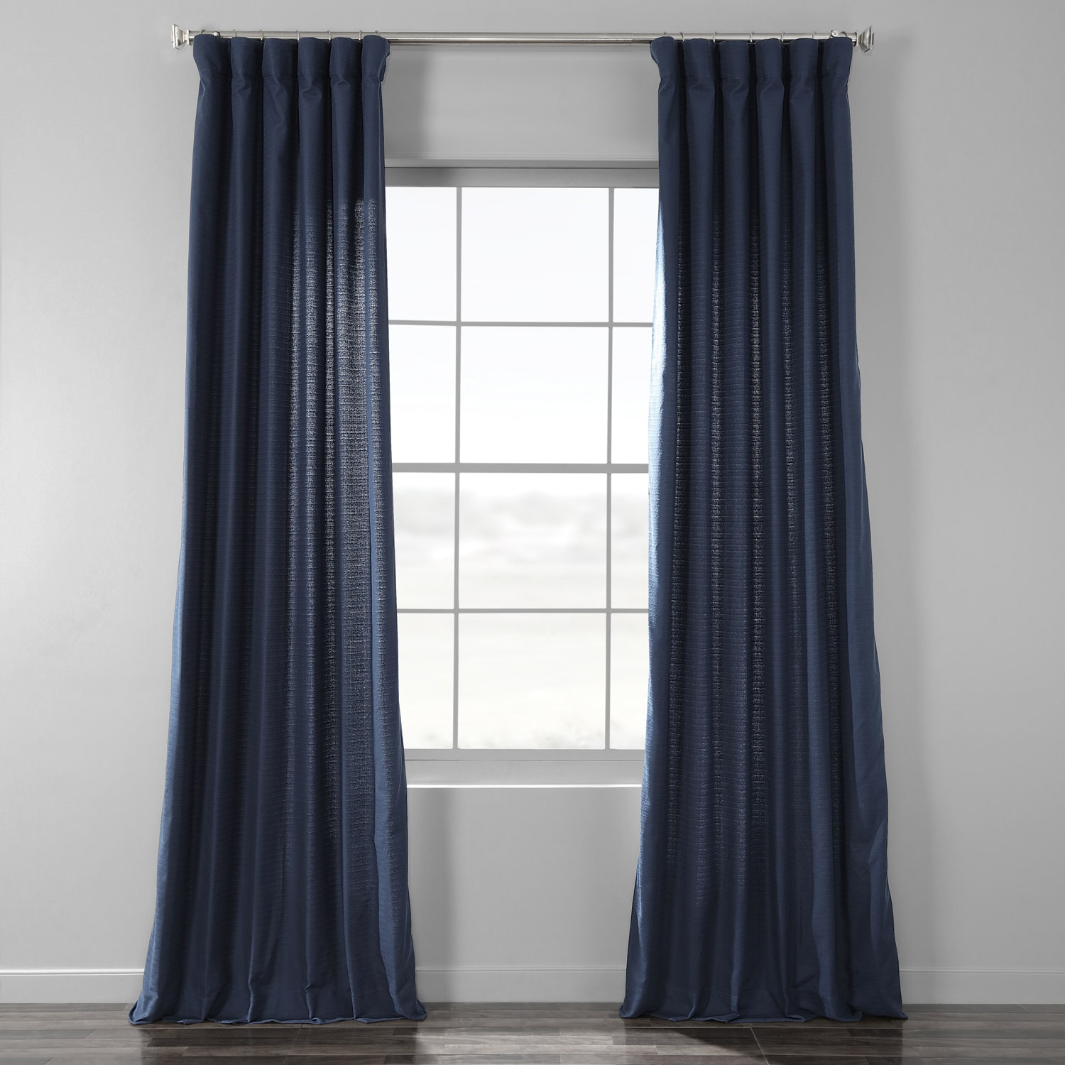 Elegant Navy Cotton Textured BarkWeave Curtain