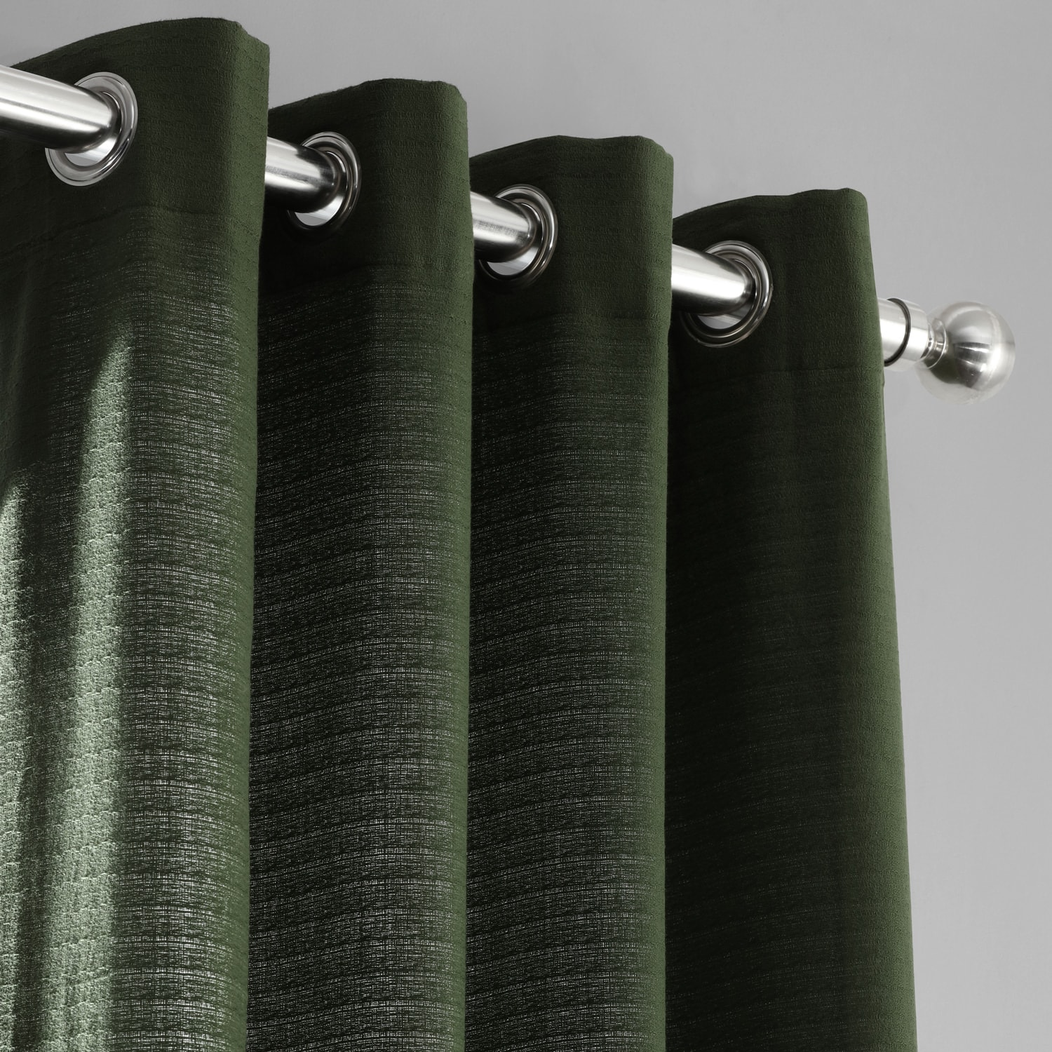 French Green Cotton Textured BarkWeave Grommet Curtain