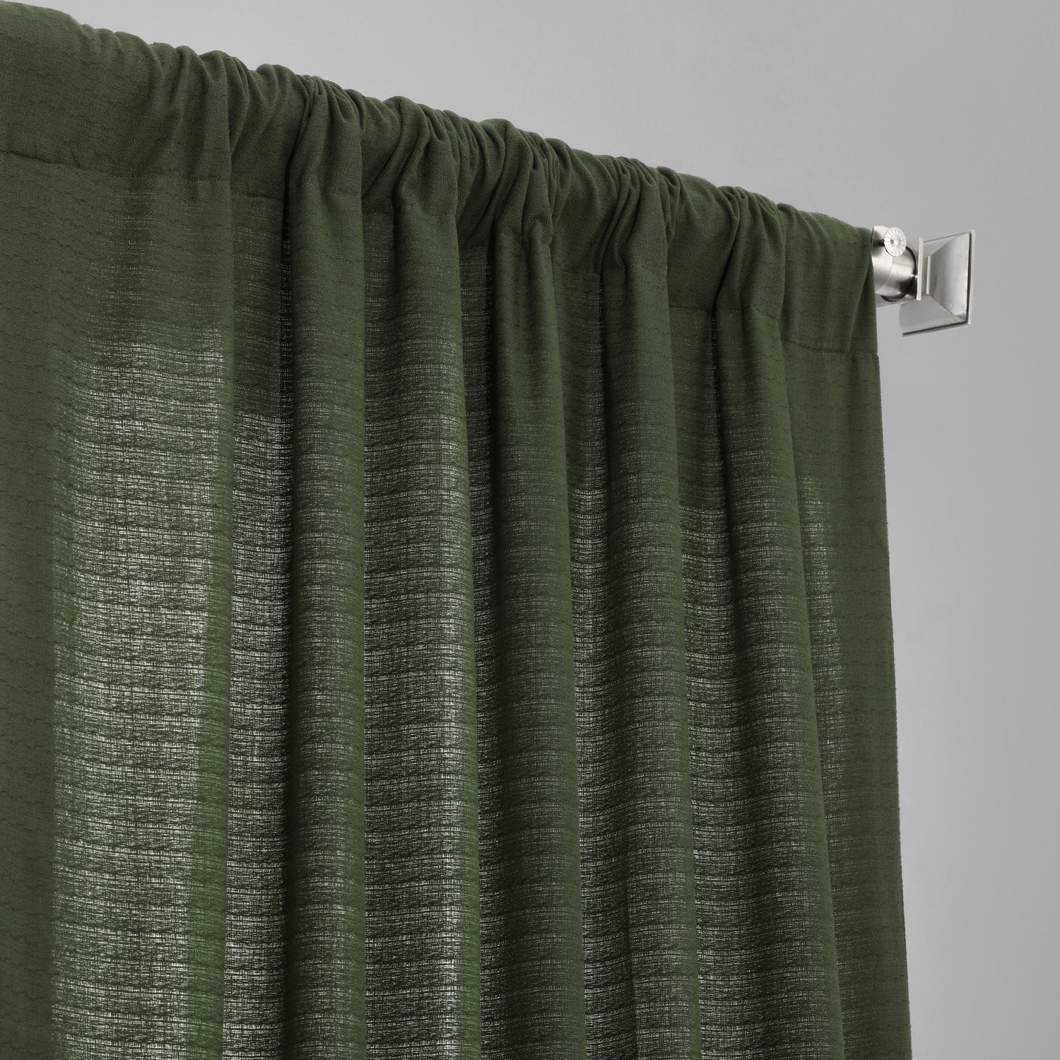 French Green Cotton Textured BarkWeave Curtain