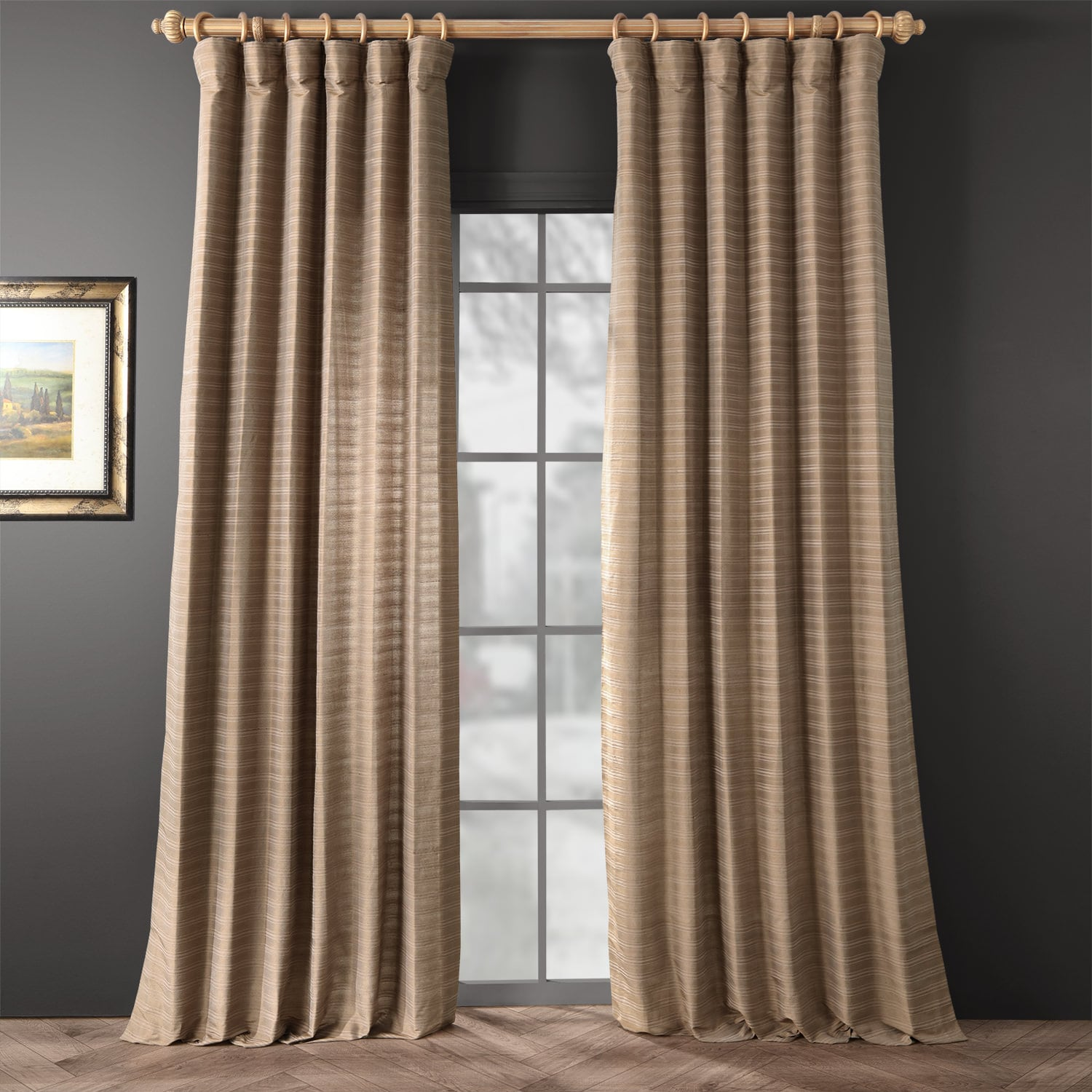 Chai Tea Taupe Hand Weaved Cotton Curtain