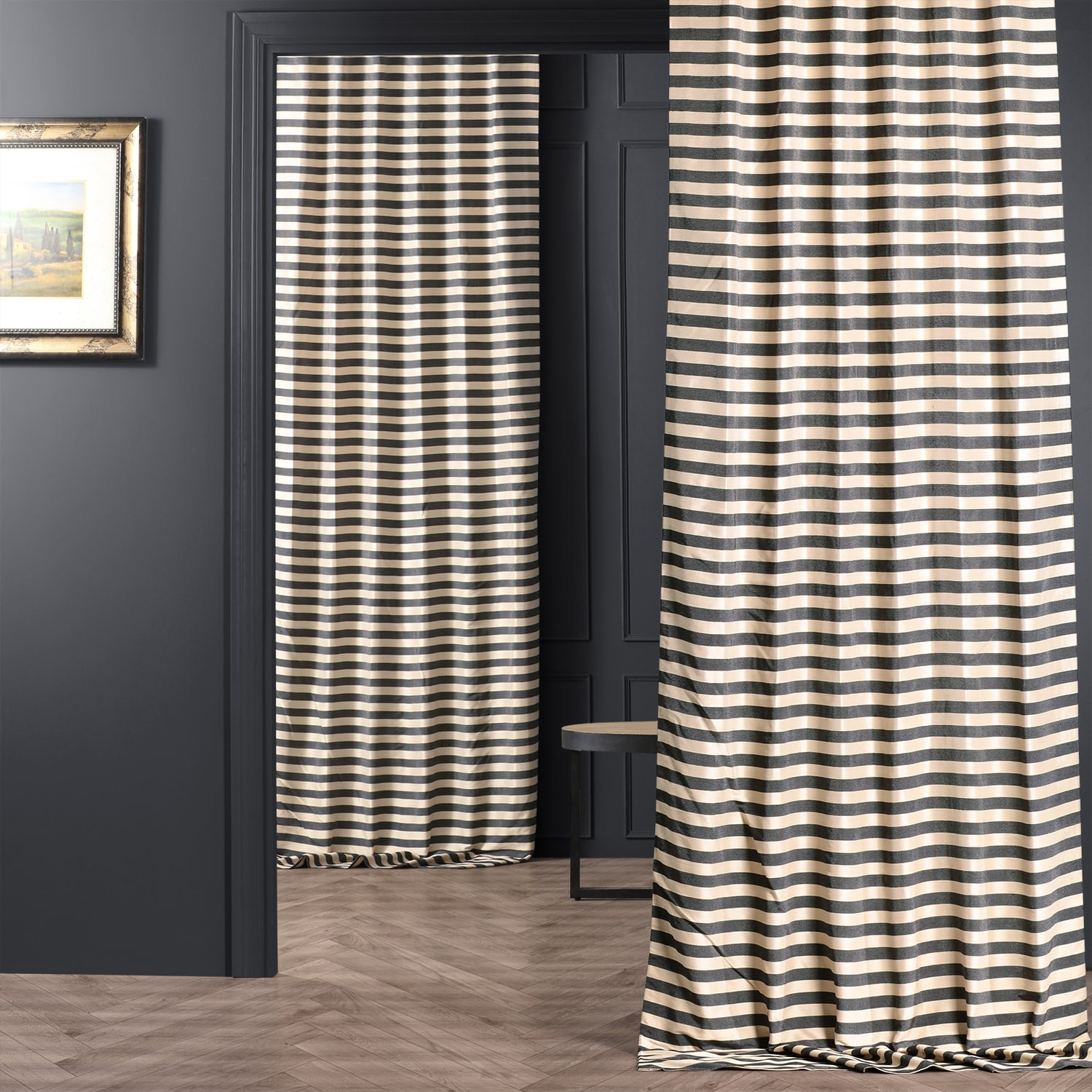 Suave Charcoal And Ivory Hand Weaved Cotton Curtain