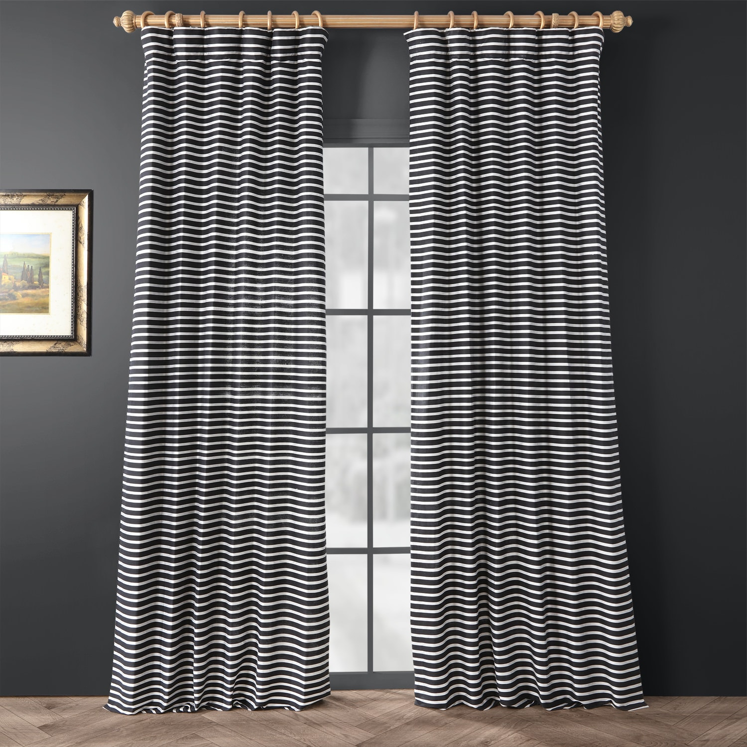 Chic Silver and Black Hand Weaved Cotton Curtain