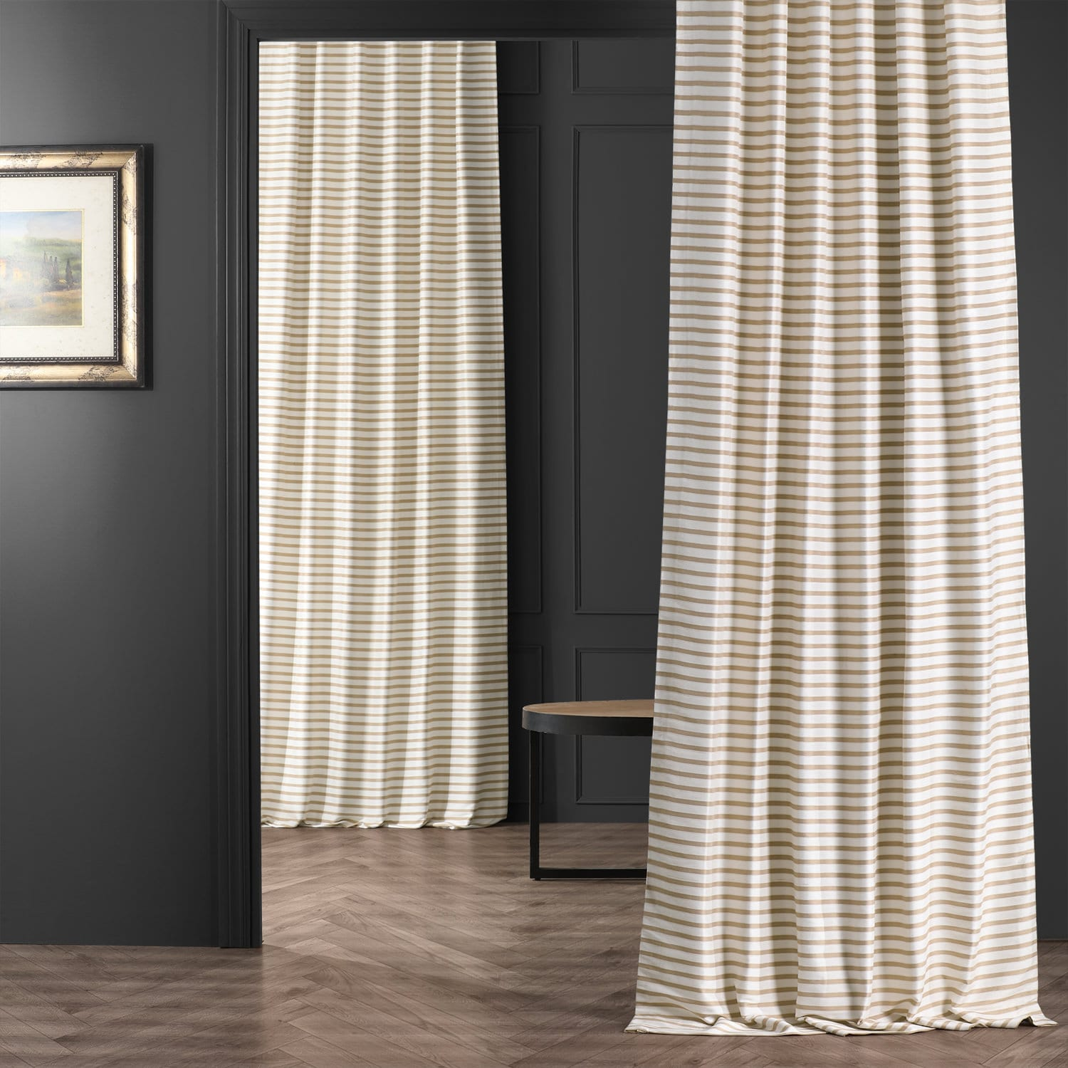 Daydream Tan and Cream Hand Weaved Cotton Curtain
