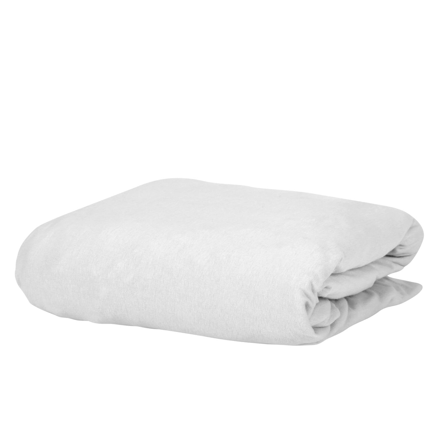 100% Premium Combed Cotton Jersey White Fitted Sheet with Aloe Vera Treatment