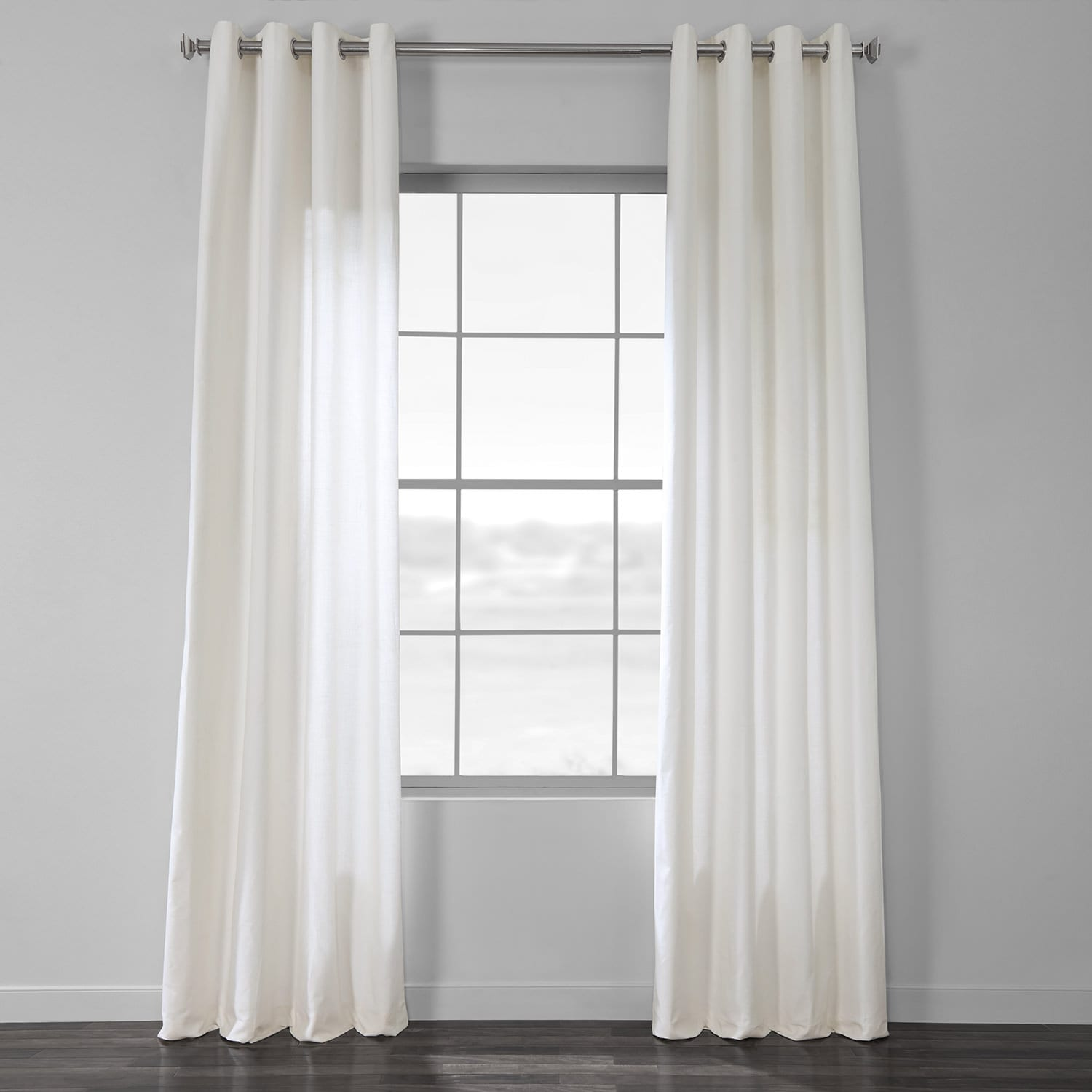 Pearl White Cotton Textural LinenWeave Grommet Curtain