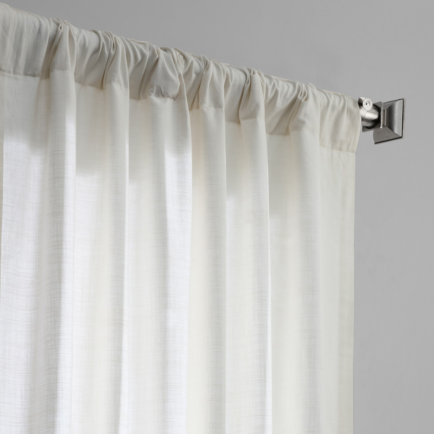 Pearl White Cotton Textural LinenWeave Curtain