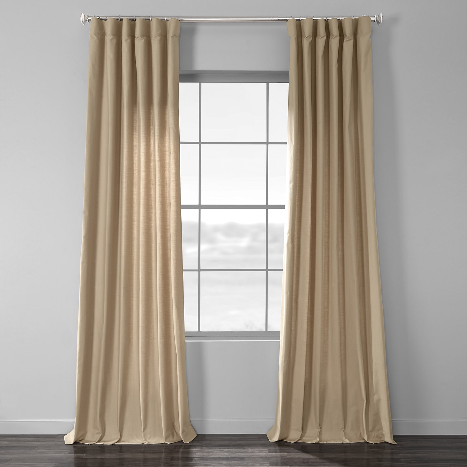 Camel Tan Cotton Textural LinenWeave Curtain