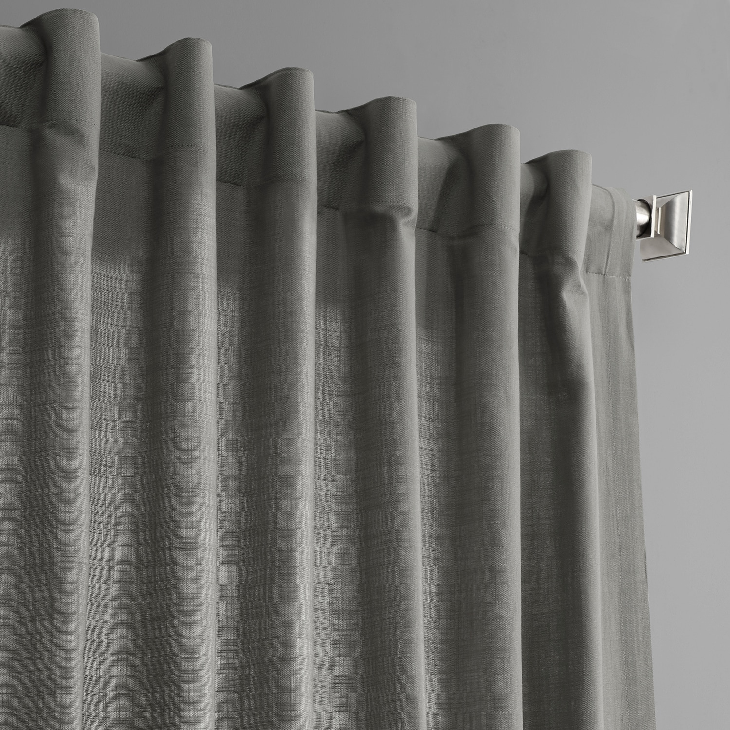 Graphite Grey Cotton Textural LinenWeave Curtain