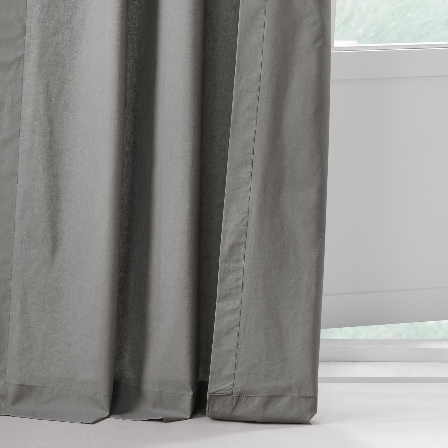 Shady Grey Solid Classic Cotton Semi Sheer Curtain Pair (2 Panels)