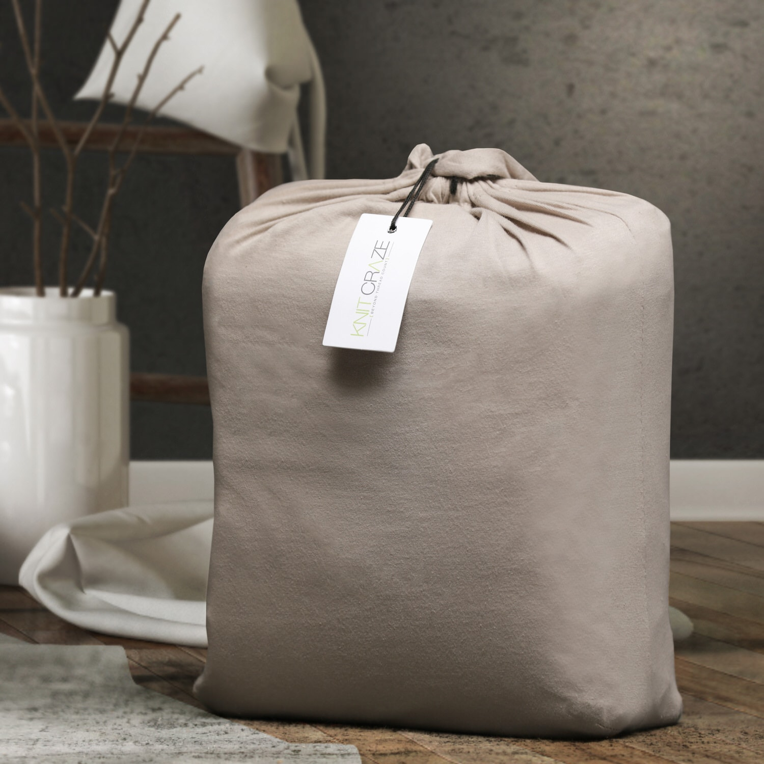 Cotton Jersey Beige Fitted Sheet