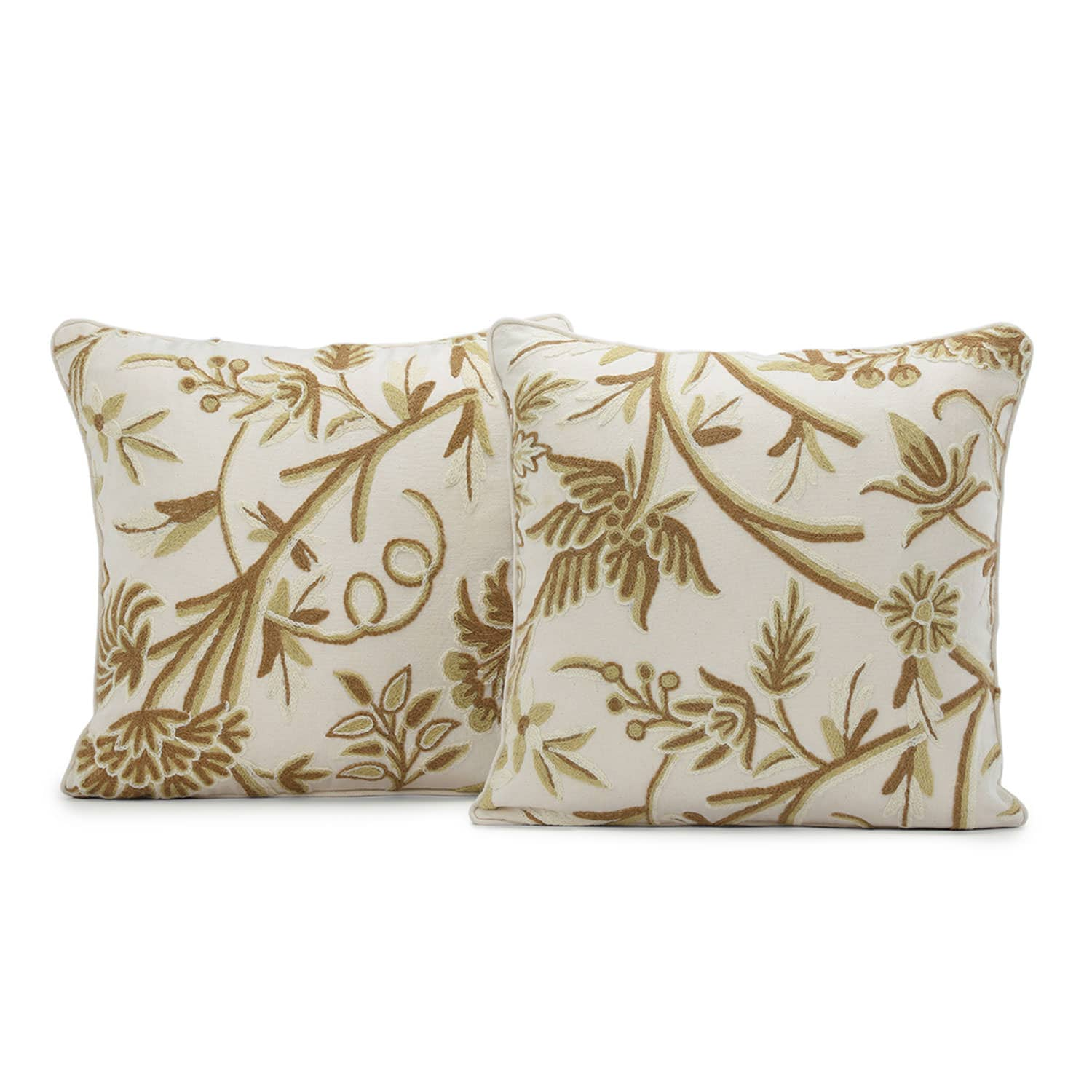 Chantal Embroidered Cotton Crewel Cushion Covers - Pair