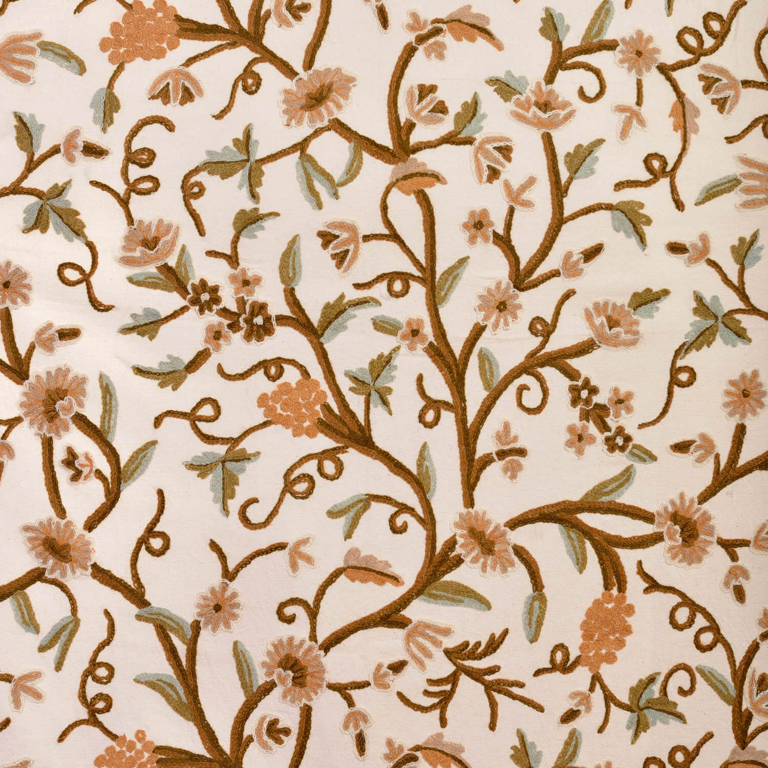 Elise Embroidered Cotton Crewel Fabric