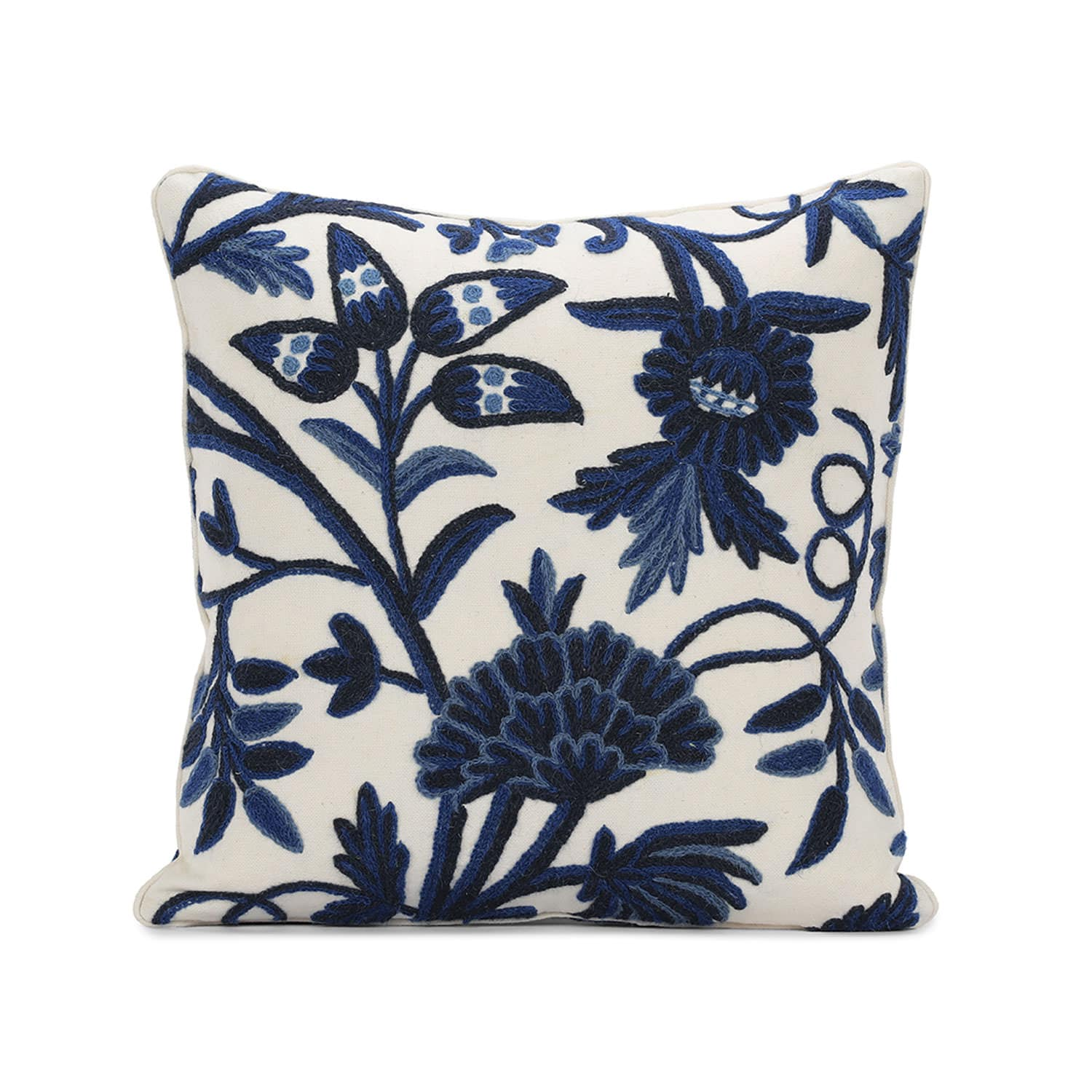 Norway Embroidered Cotton Crewel Cushion Covers - Pair