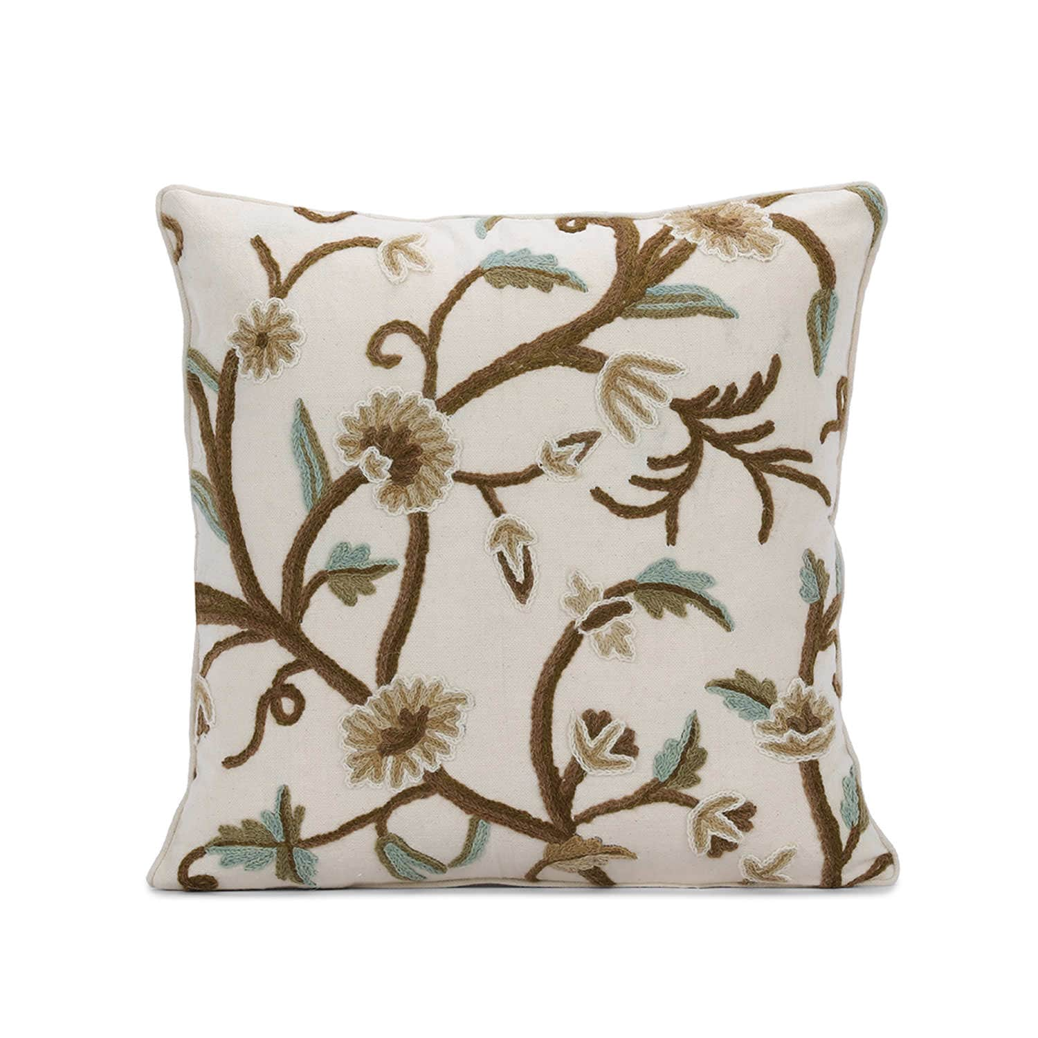 Frances Embroidered Cotton Crewel Cushion Covers - Pair