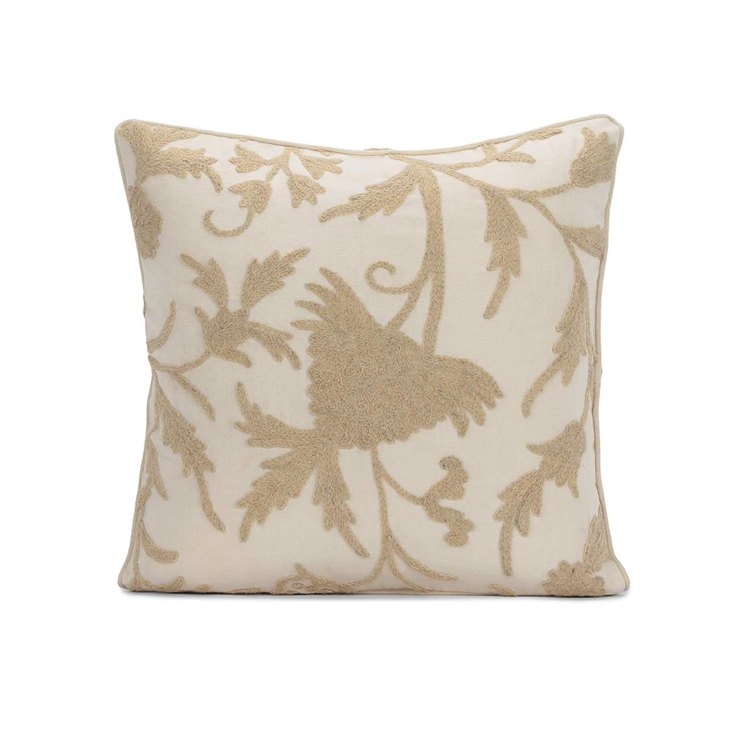 Celine Cream Embroidered Cotton Crewel Cushion Covers - Pair