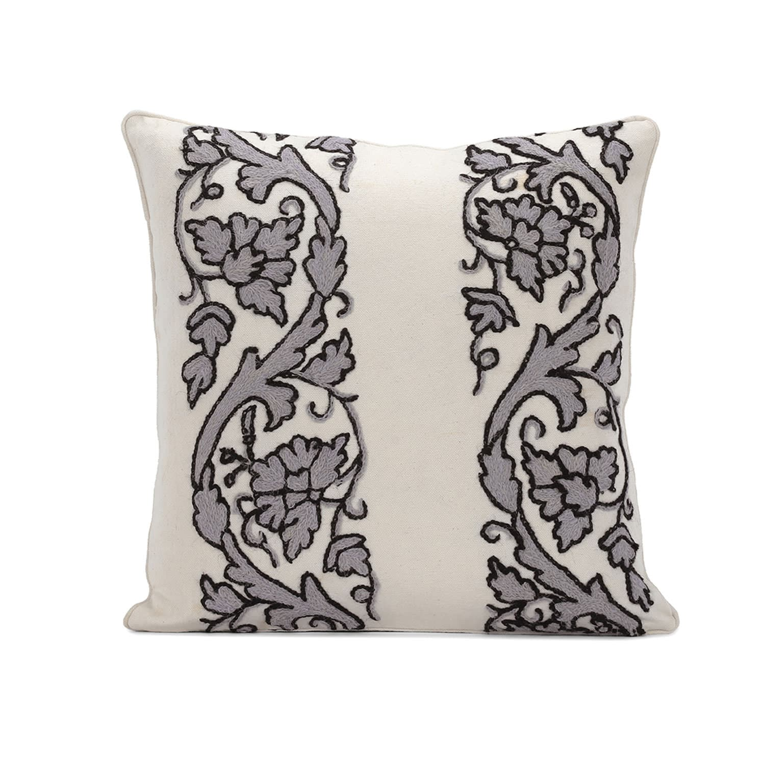 Florence Grey Embroidered Cotton Crewel Cushion Covers - Pair