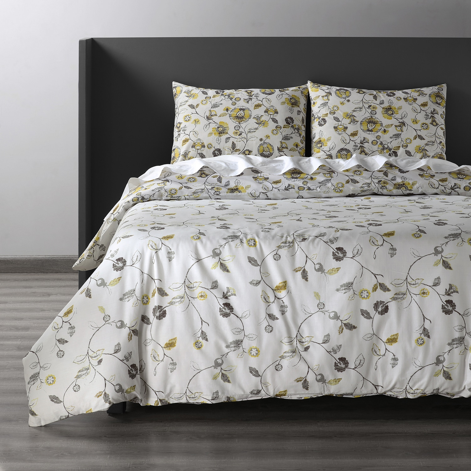 Madison Gold and Grey Cotton Double Slub Linen Weave Reversible Duvet Set