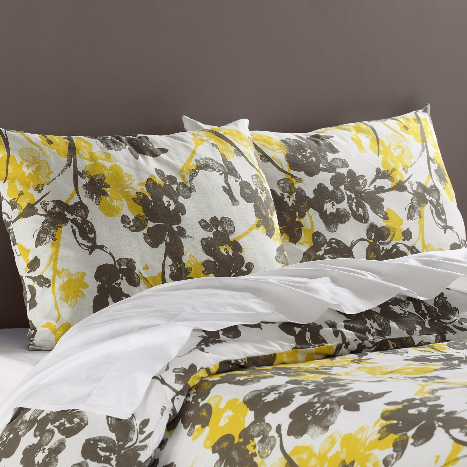 Ashley Yellow Cotton Double Slub Linen Weave Reversible Duvet Set