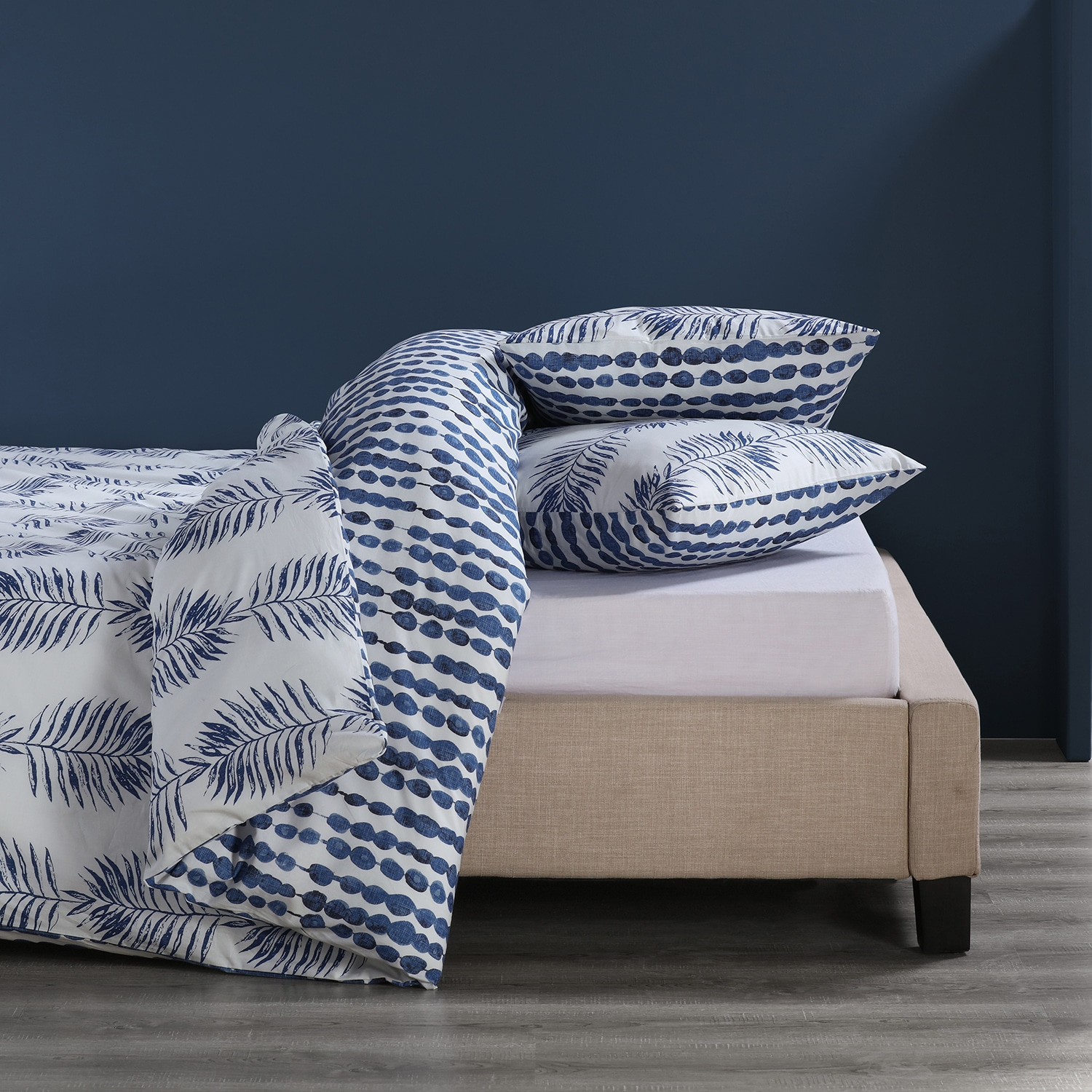 Tahiti Blue Cotton Percale Printed Reversible Duvet Cover Set