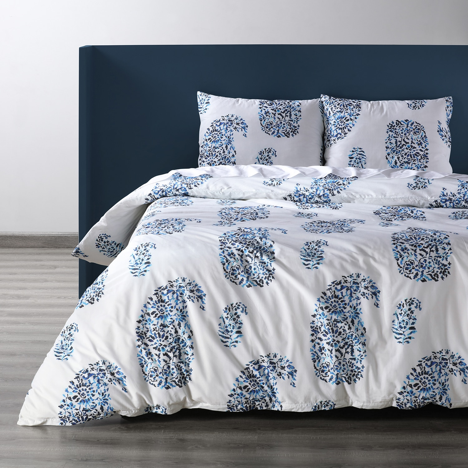 Paisley Park Blue Cotton Percale Printed Duvet Cover Set