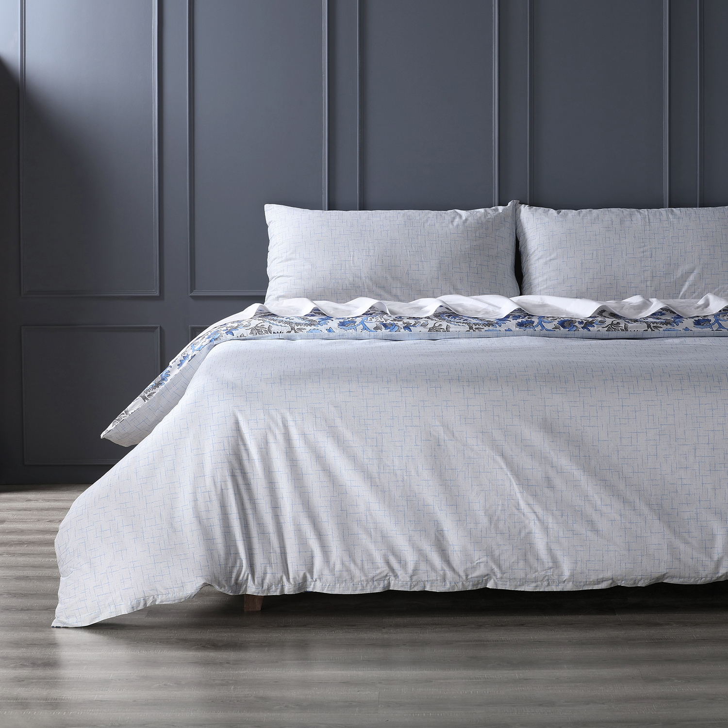 Cheshire Blue Cotton Percale Printed Reversible Duvet Cover Set