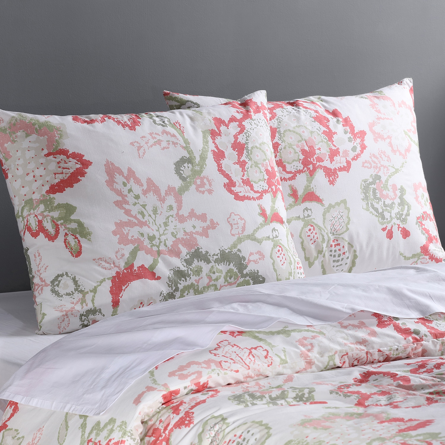 Divine Coral Cotton Percale Printed Duvet Cover Set
