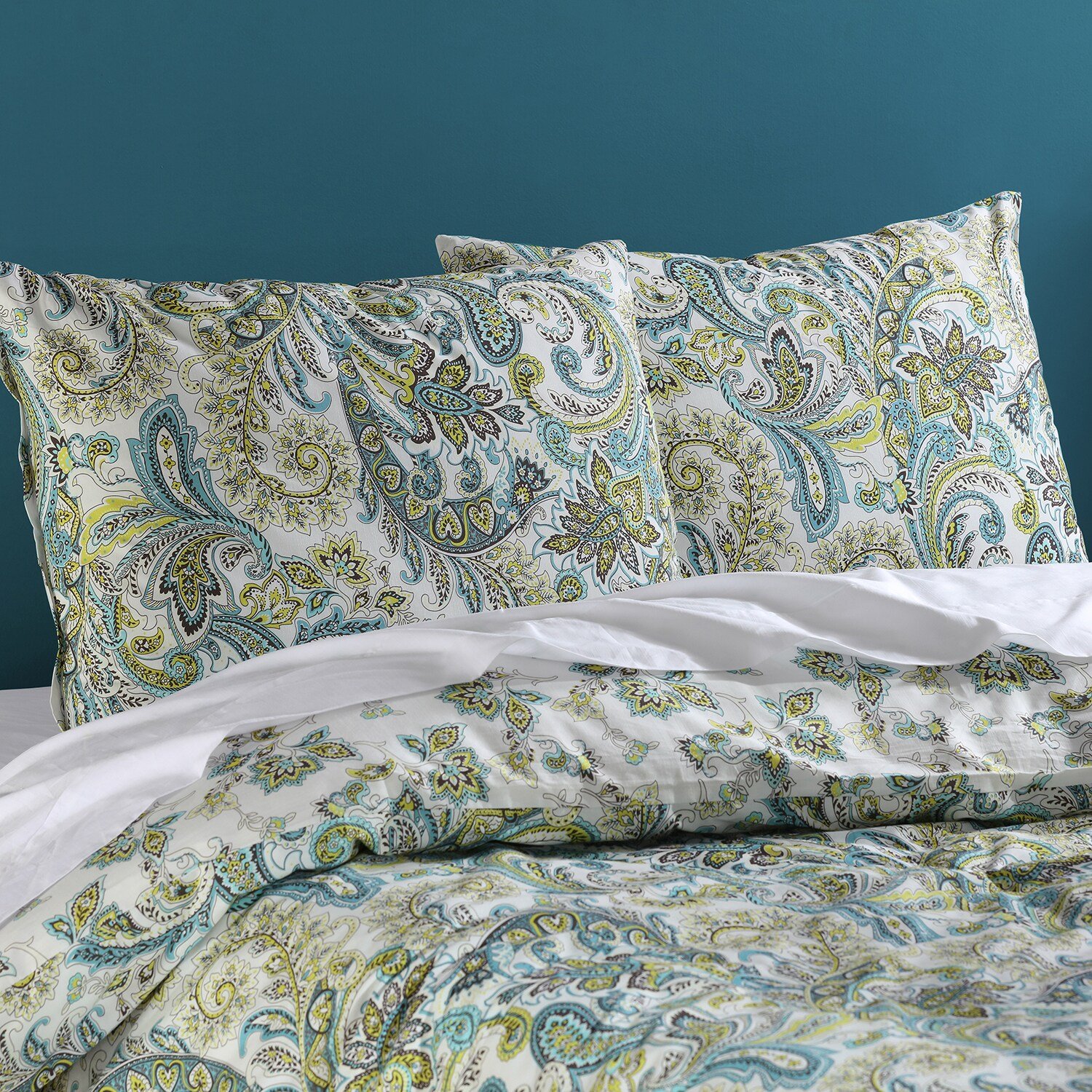 Spindrift Teal and Yellow Cotton Percale Printed Reversible Duvet Cover Set