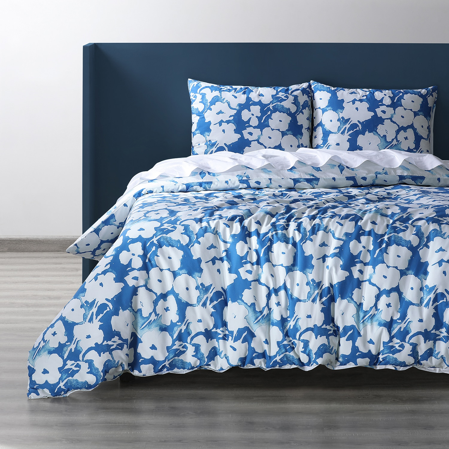 Van Gogh Ocean Blue Cotton Percale Printed Reversible Duvet Cover Set