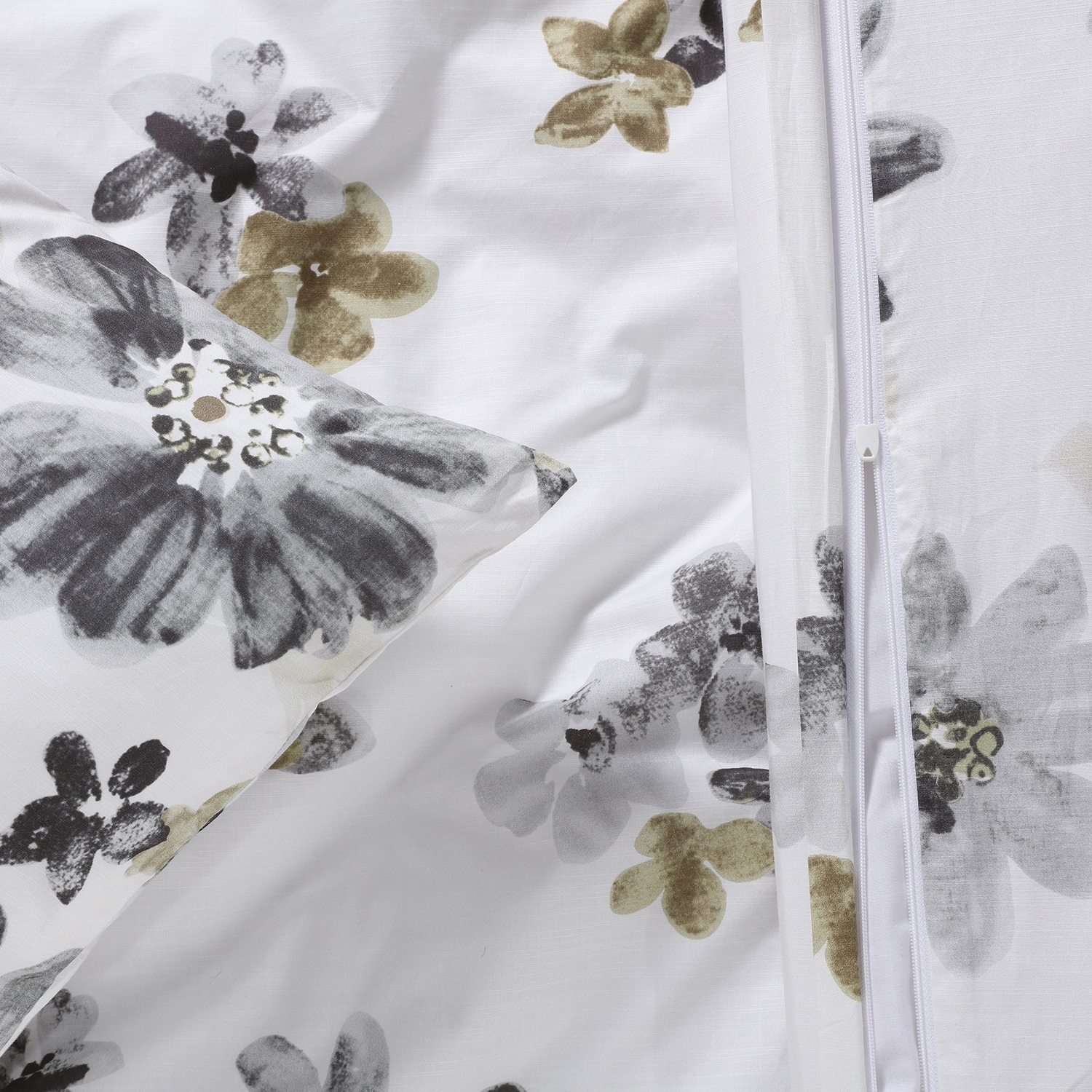 Blossom Neutral Cotton Percale Printed Reversible Duvet Cover Set