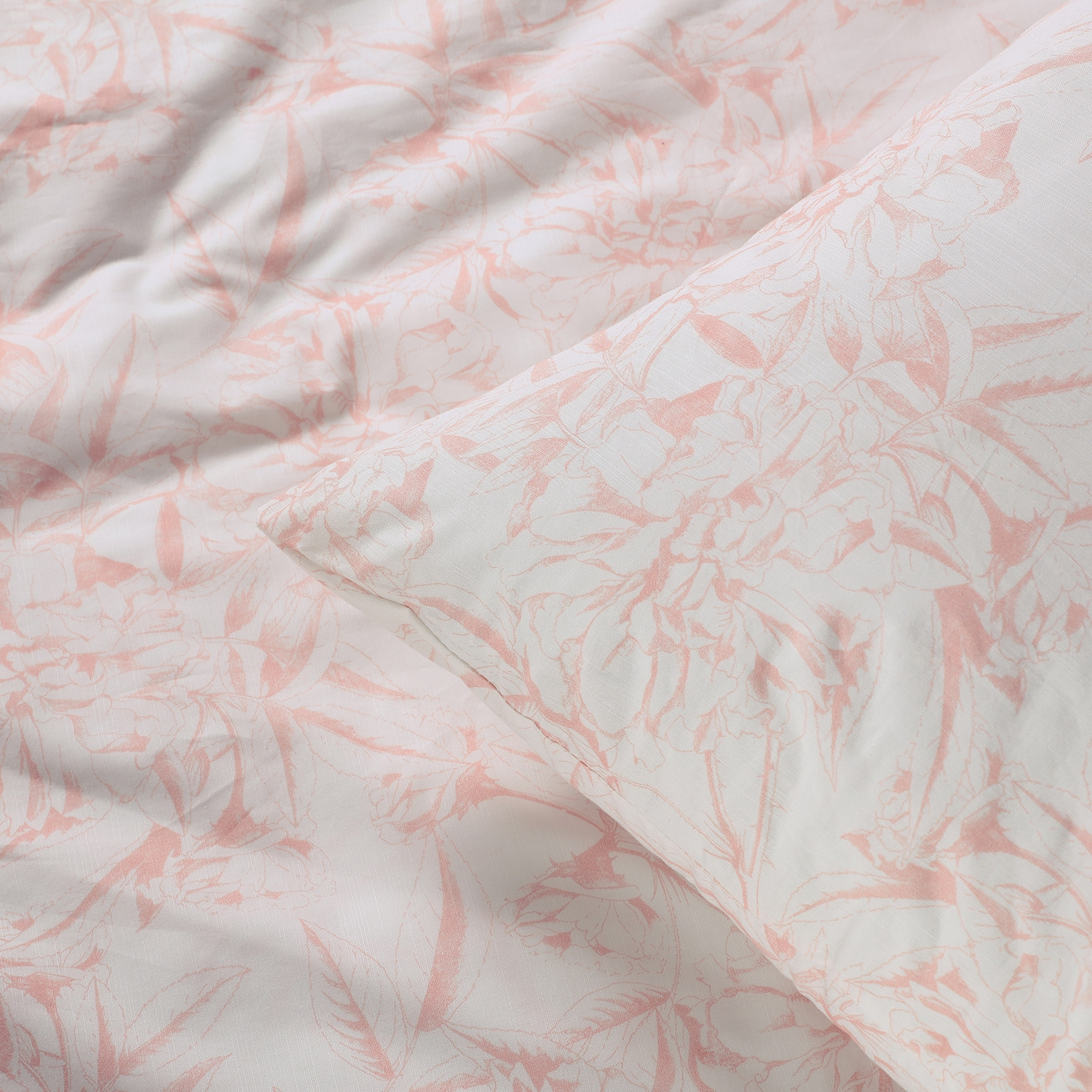 Blooming Coral Cotton Percale Printed Duvet Cover Set
