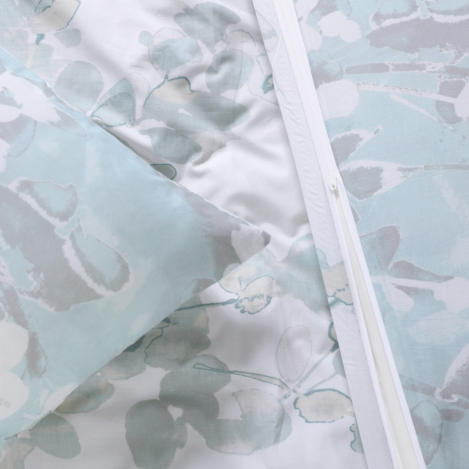 Pale Elm Cotton Percale Printed Reversible Duvet Cover Set
