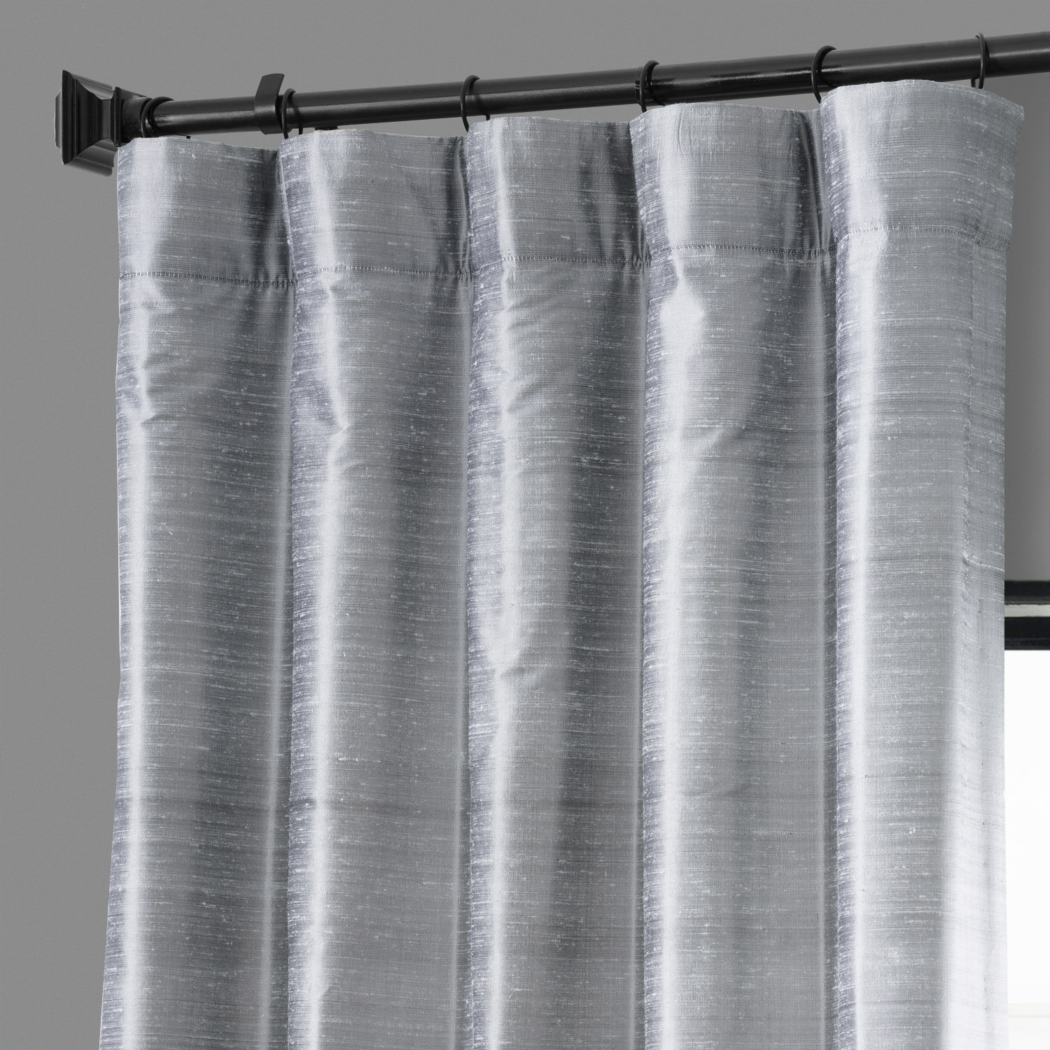 Mineral Grey Textured Dupioni Silk Curtain