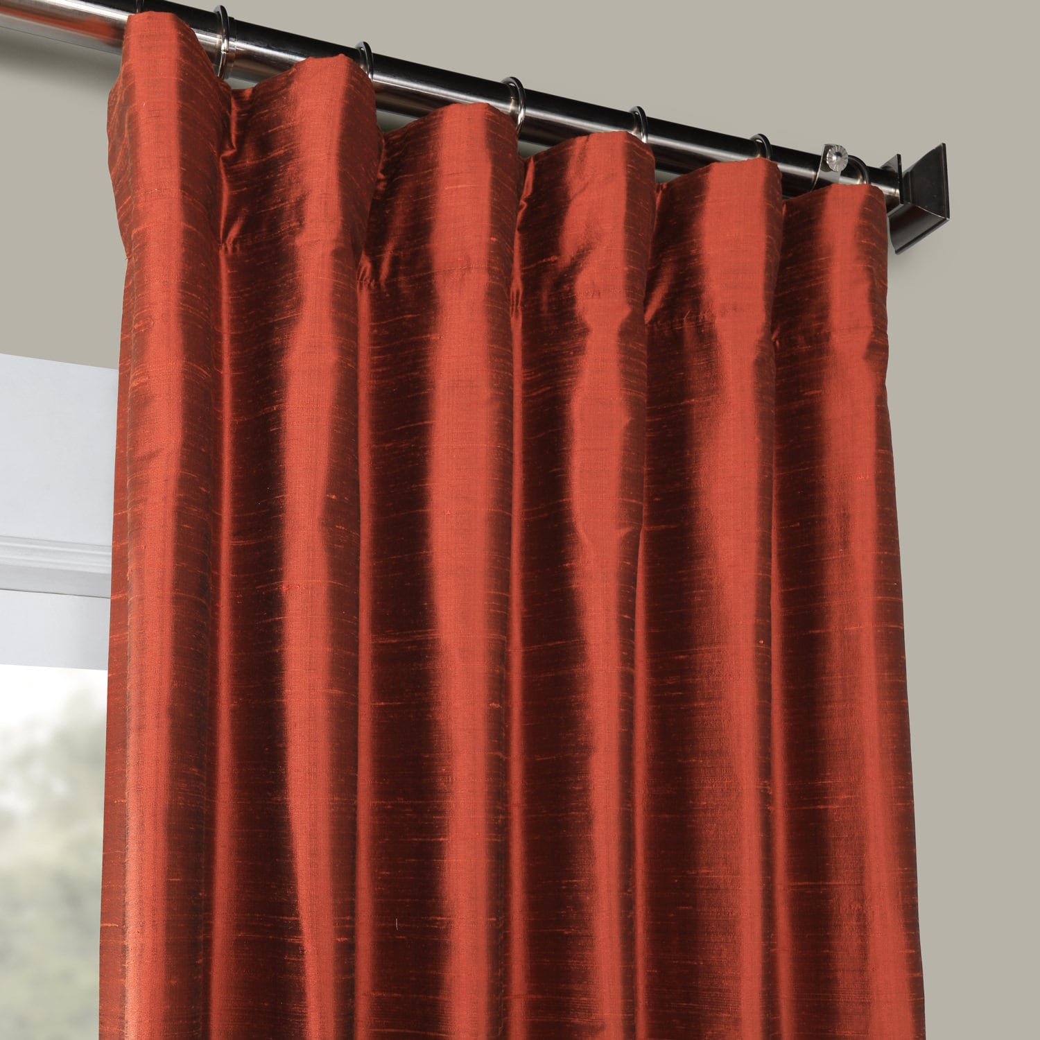 Cinnamon Stone Textured Dupioni Silk Curtain