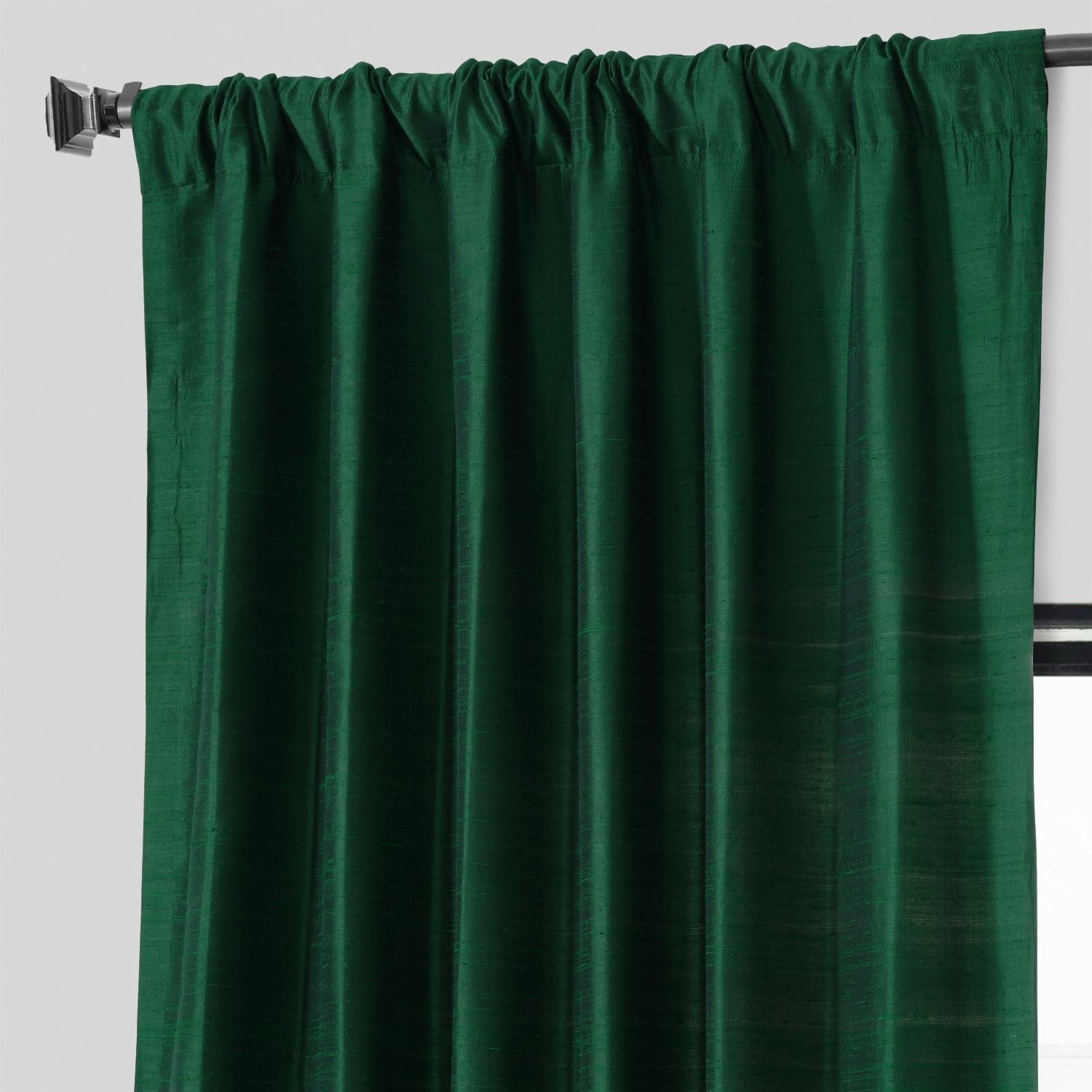 Midnight Clover Textured Dupioni Silk Curtain