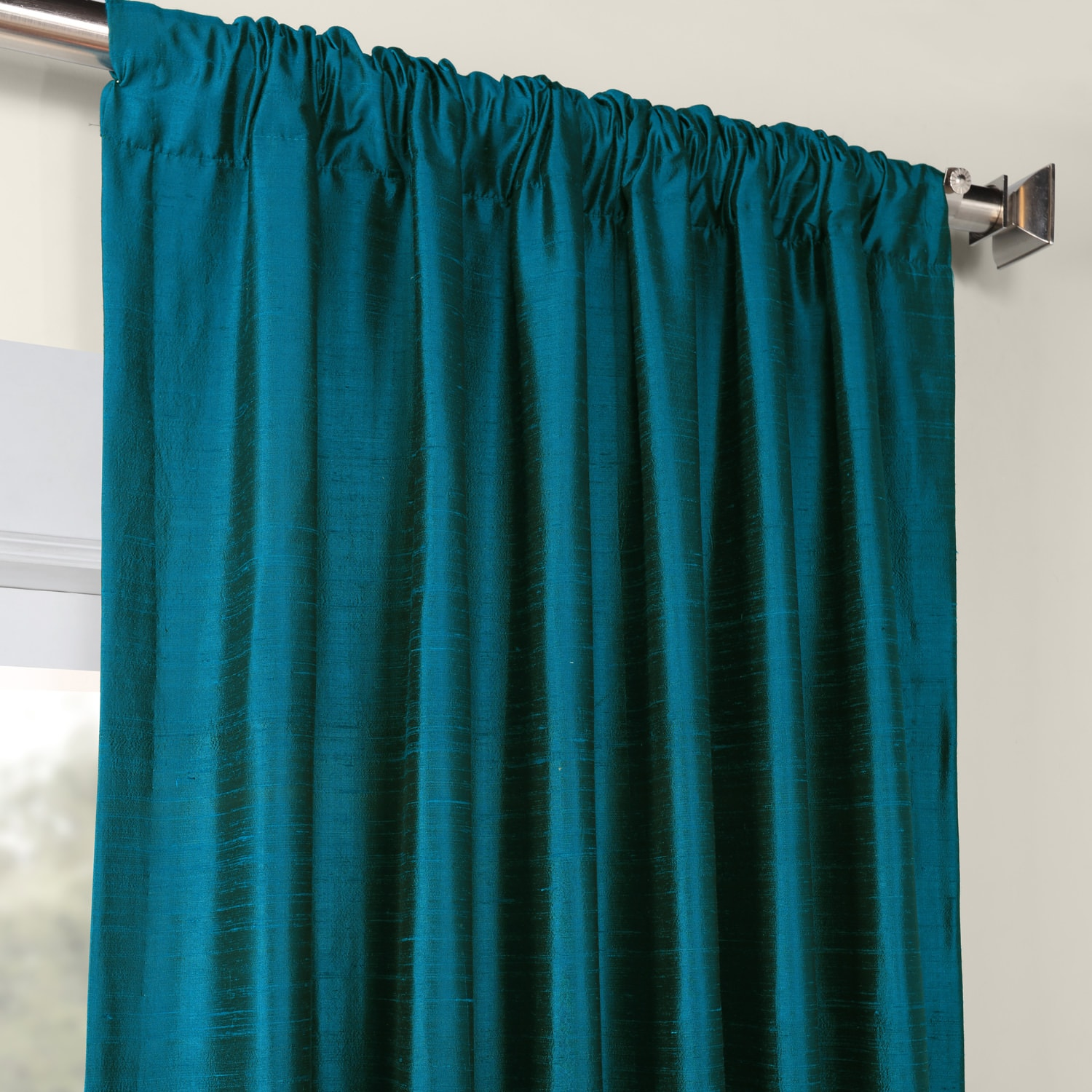 Empress Teal Textured Dupioni Silk Curtain
