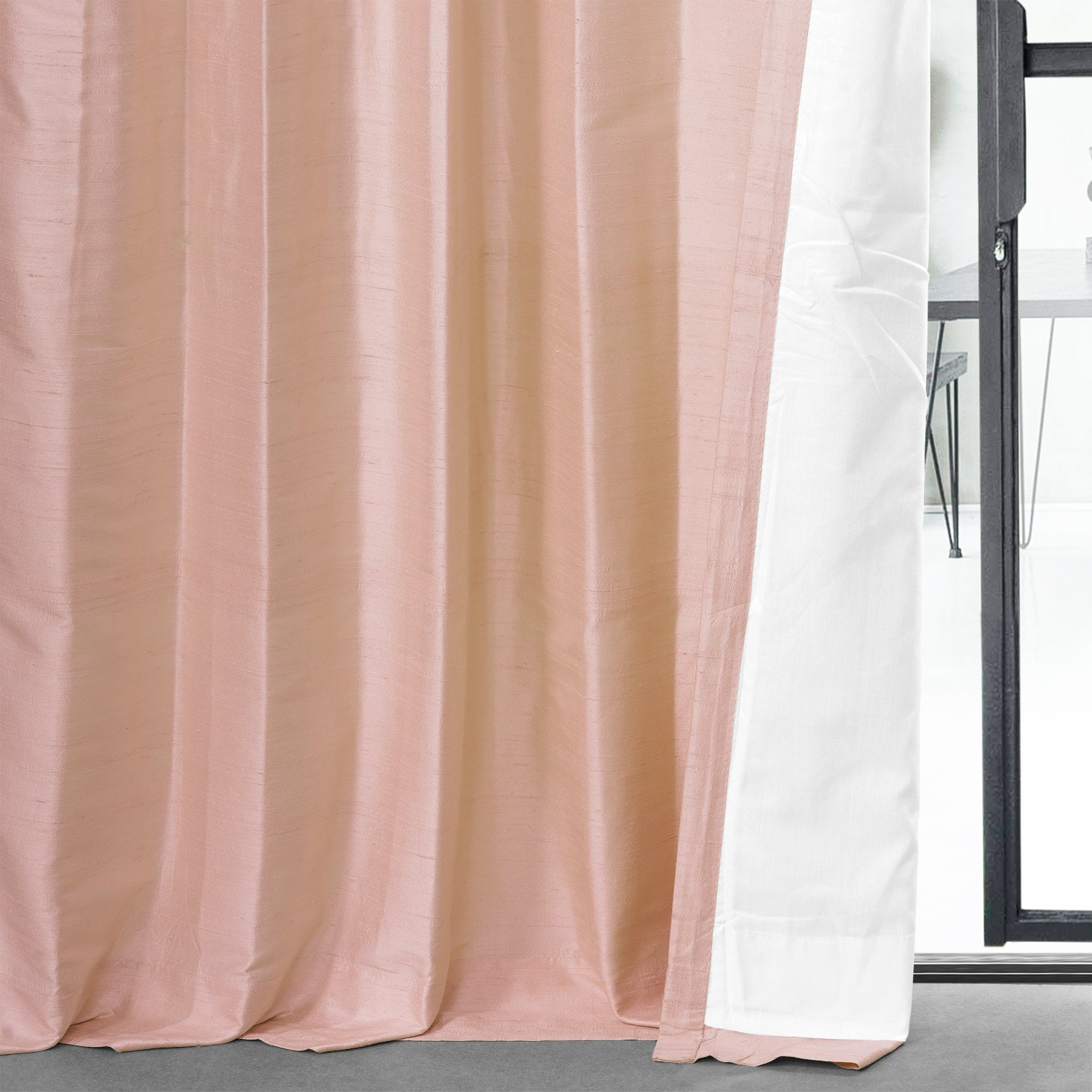 Truffle Pink Textured Dupioni Silk Curtain