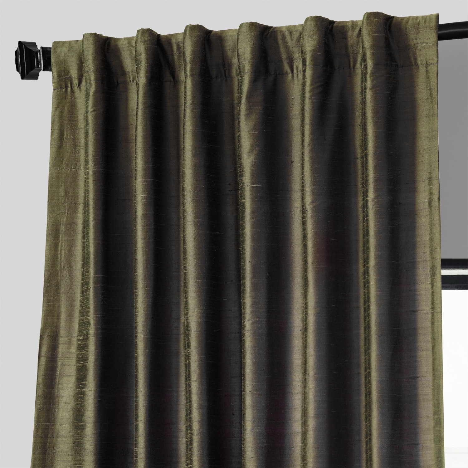 Dark Basil Textured Dupioni Silk Curtain