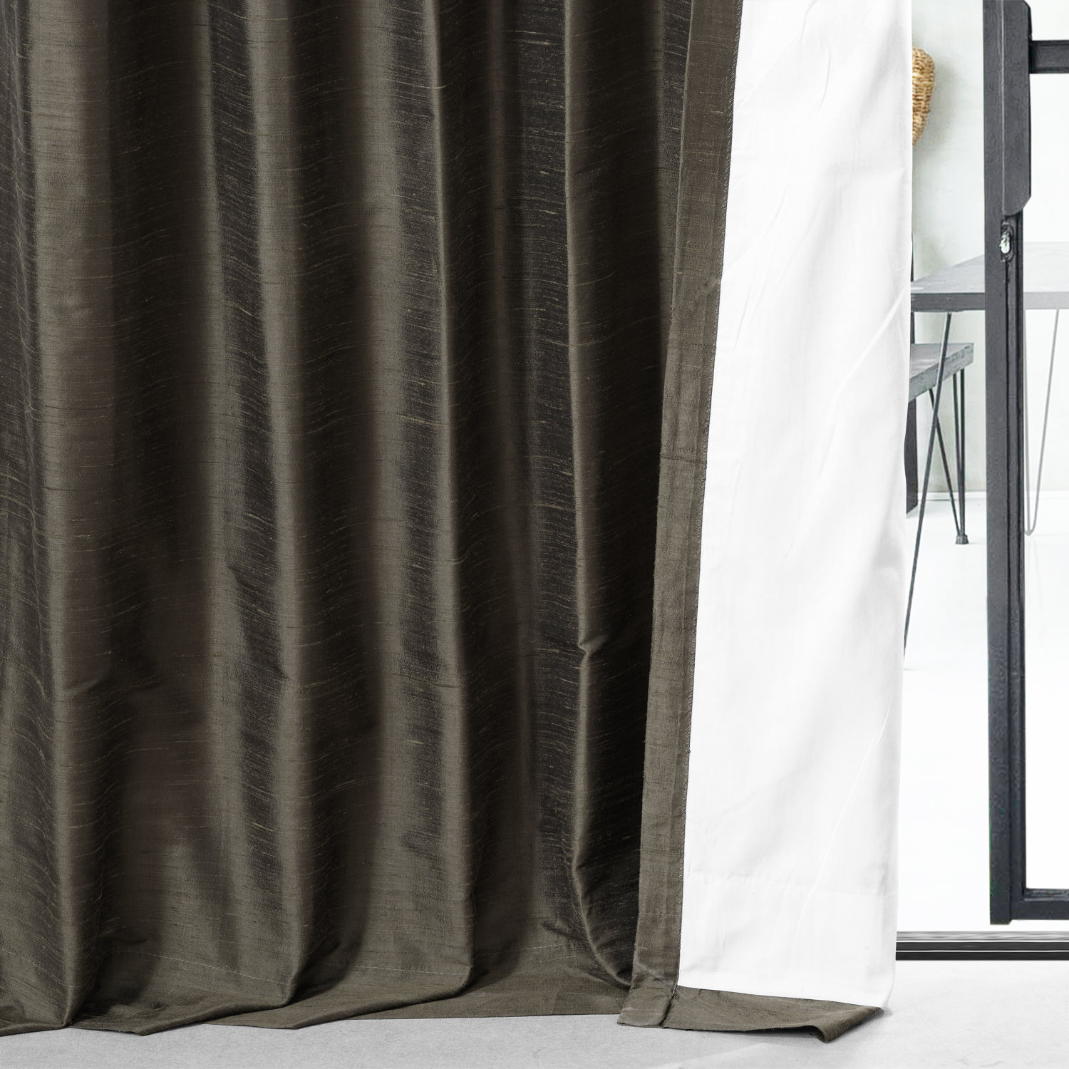 Midnight Pine Textured Dupioni Silk Curtain